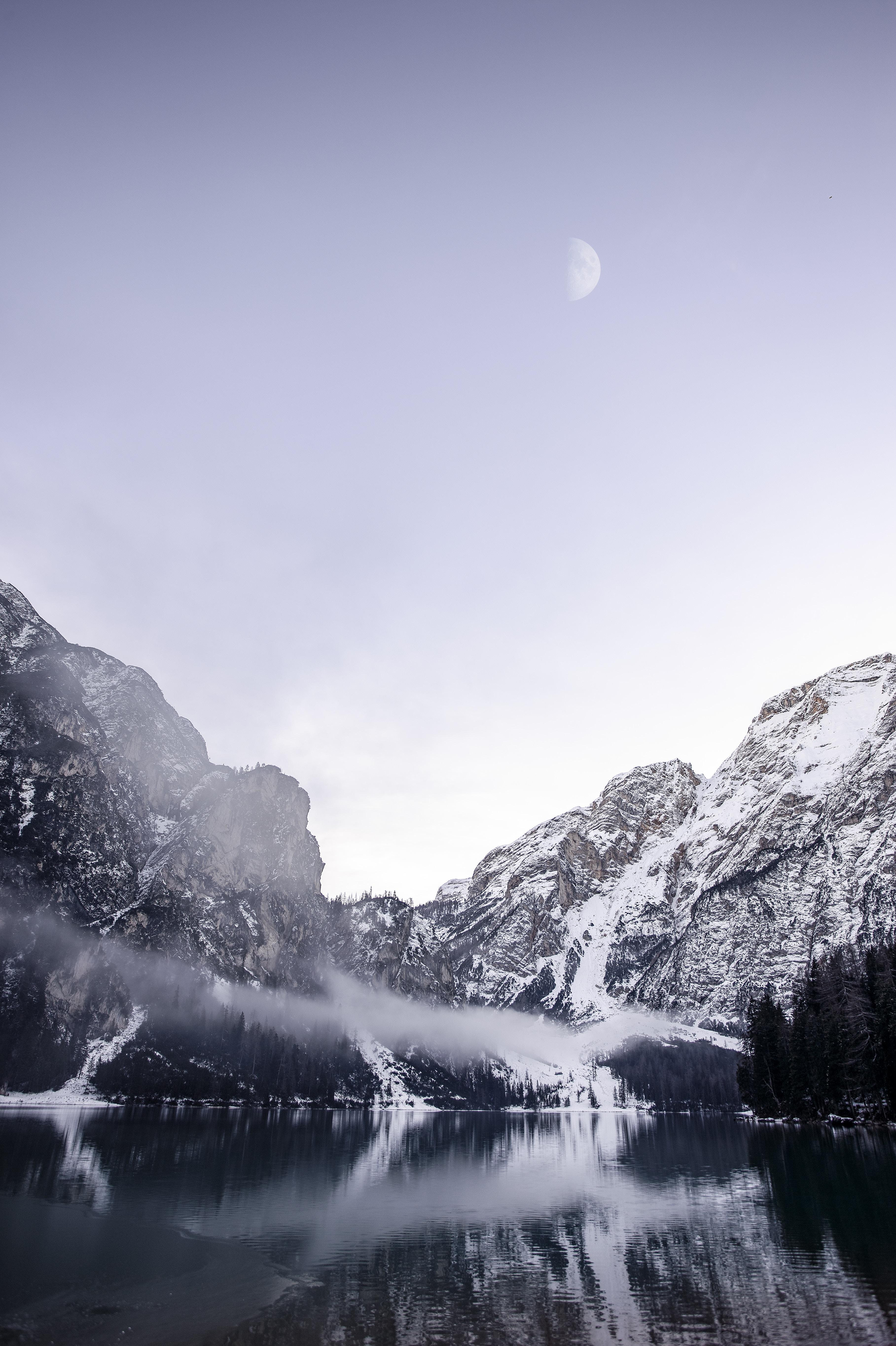 146509 download wallpaper Nature, Lake, Fog, Snow Covered, Snowbound, Mountains, Landscape screensavers and pictures for free