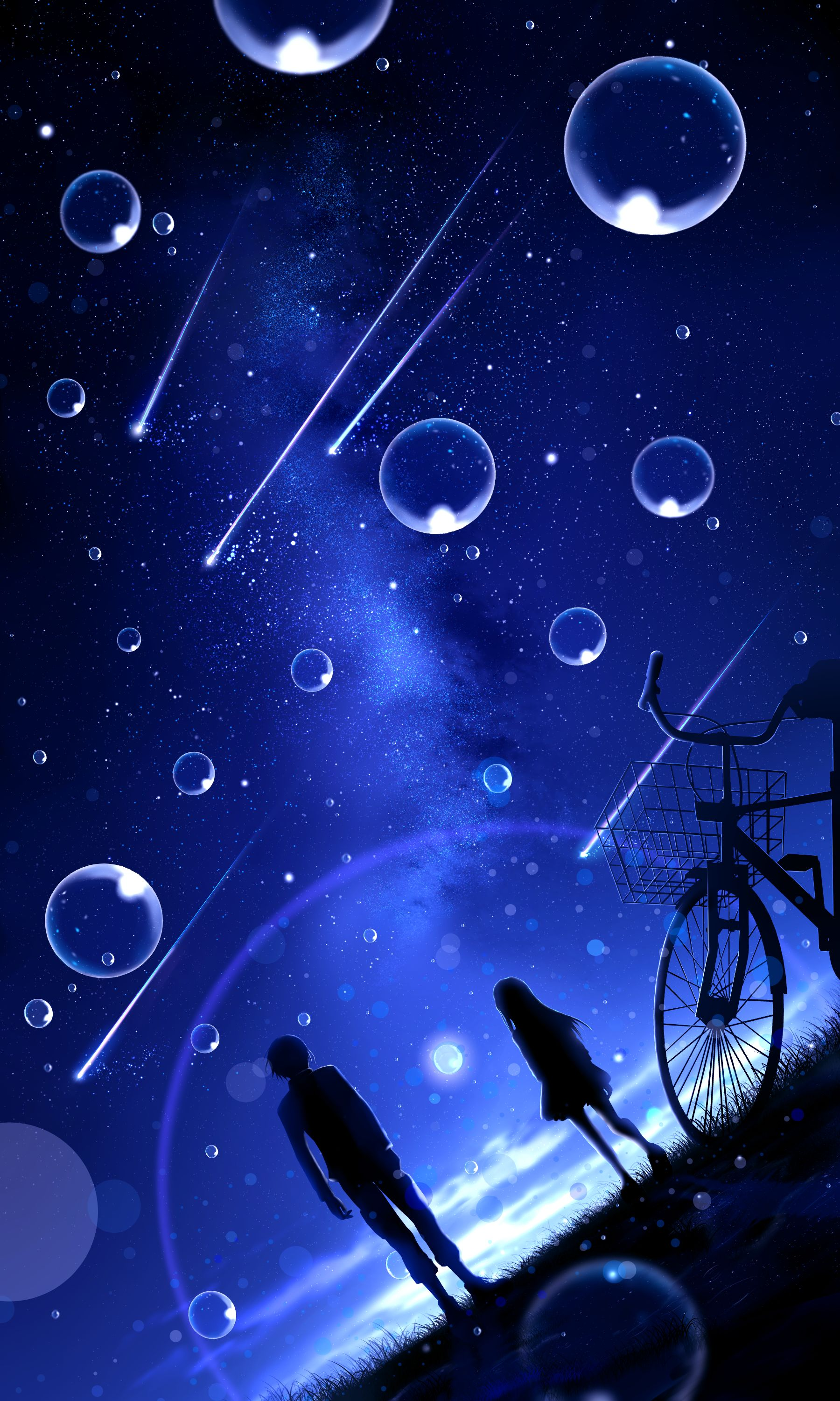 104610 download wallpaper Art, Night, Starry Sky, Silhouettes, Meteora, Meteors, Bubbles screensavers and pictures for free