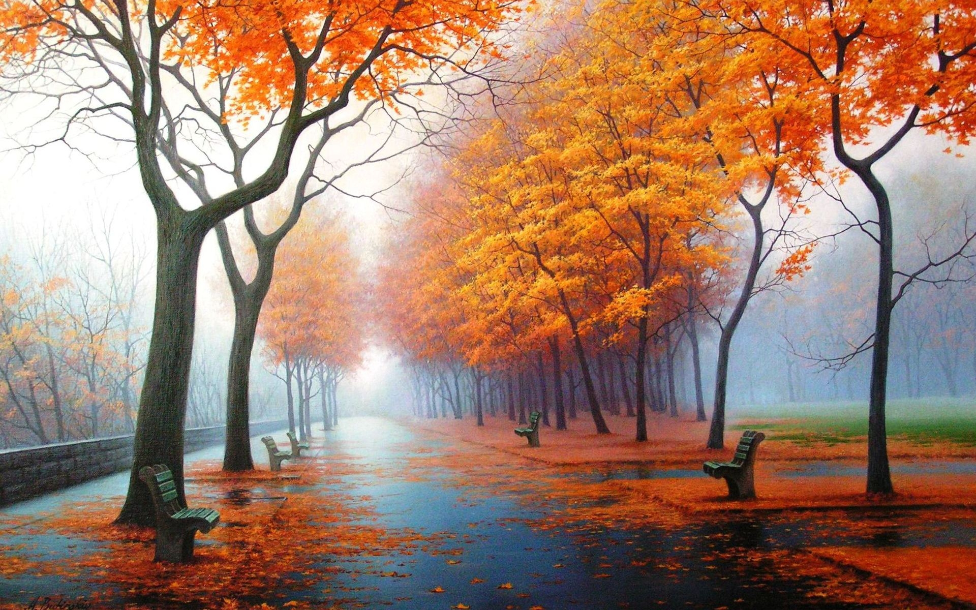 33665 download wallpaper Landscape, Autumn, Streets screensavers and pictures for free