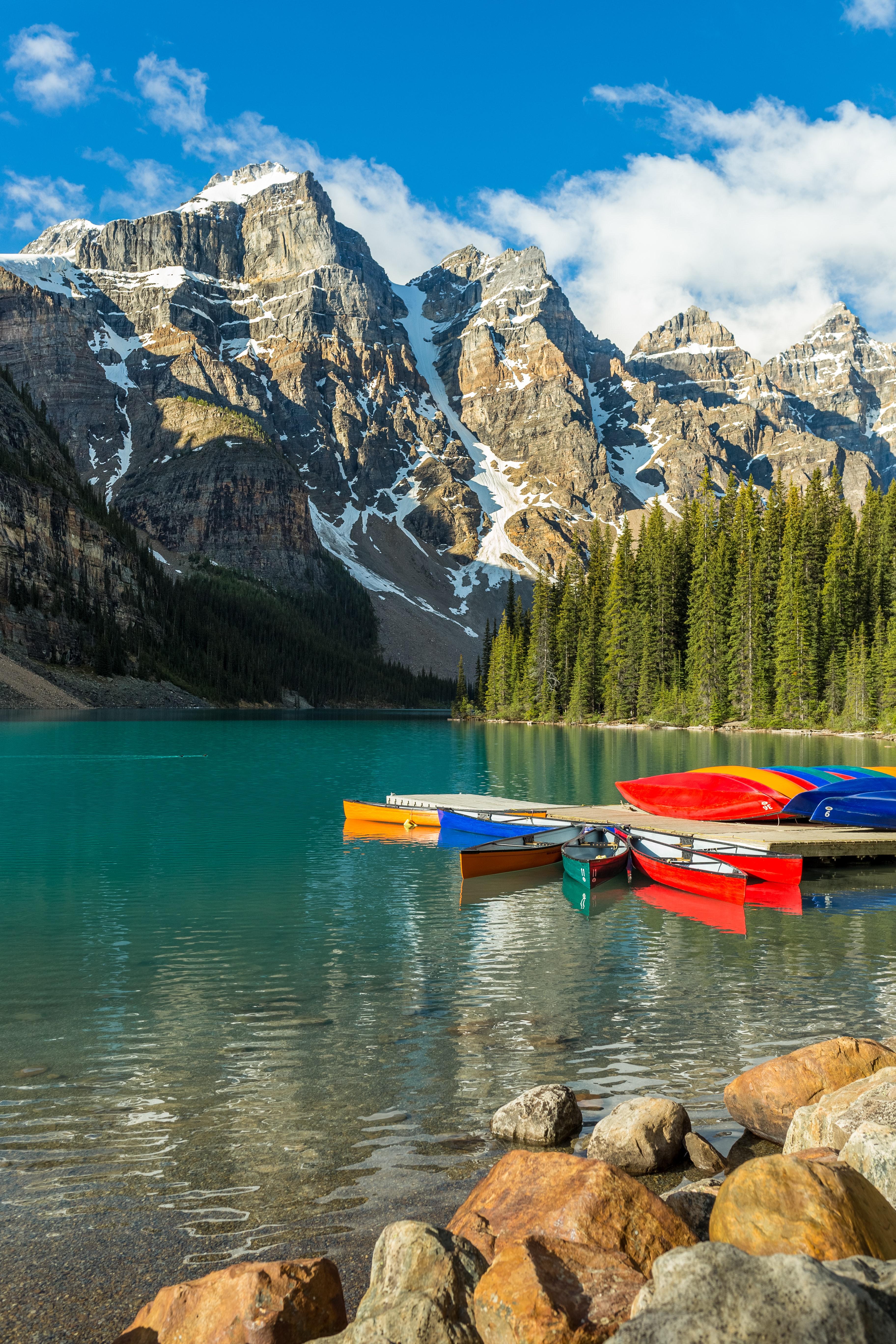 152156 Заставки и Обои Лодки на телефон. Скачать Природа, Лодки, Вода, Лес, Горы картинки бесплатно