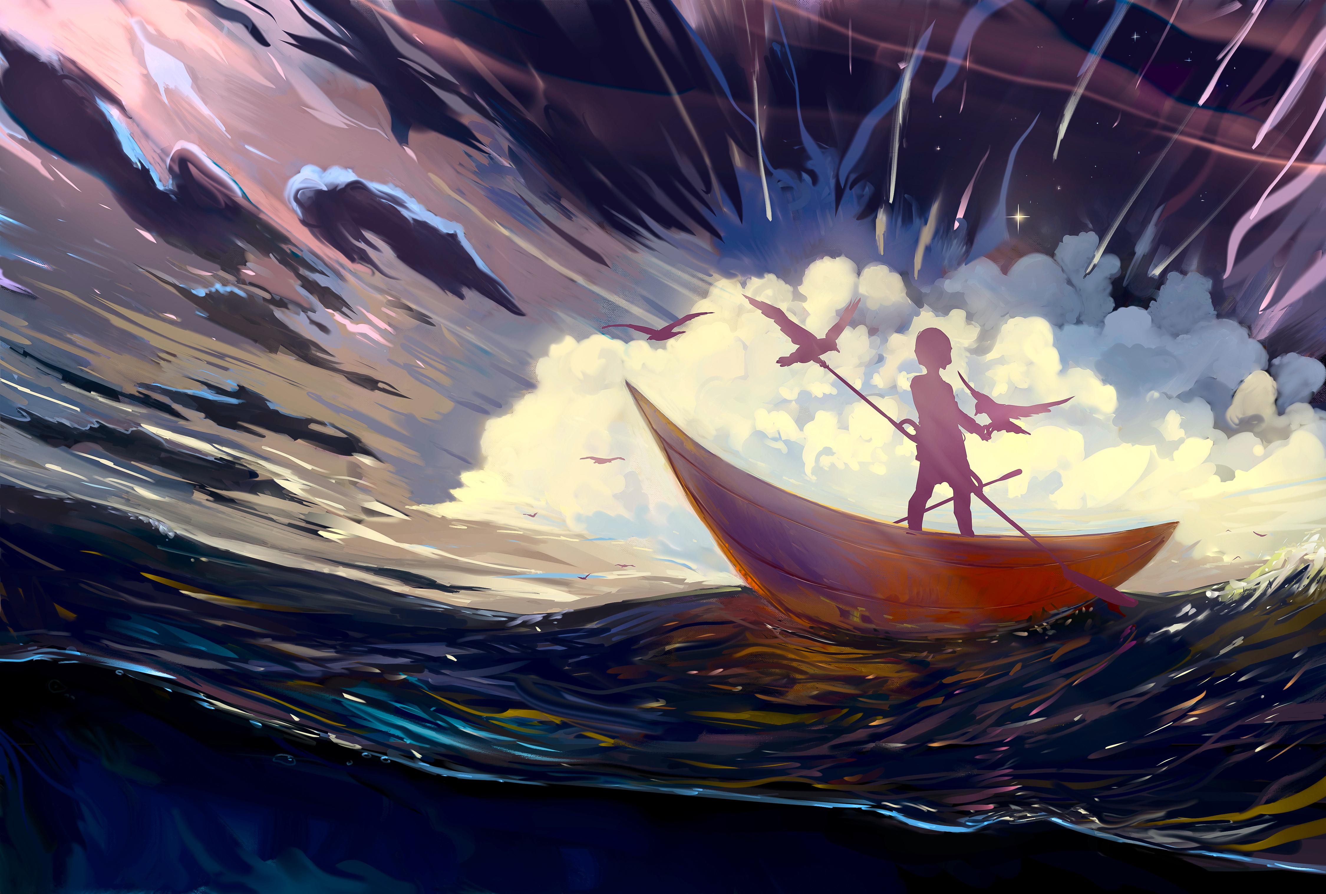 70318 Hintergrundbild herunterladen Vögel, Kunst, Silhouette, Ein Boot, Boot, Allein, Einsam, Sturm - Bildschirmschoner und Bilder kostenlos