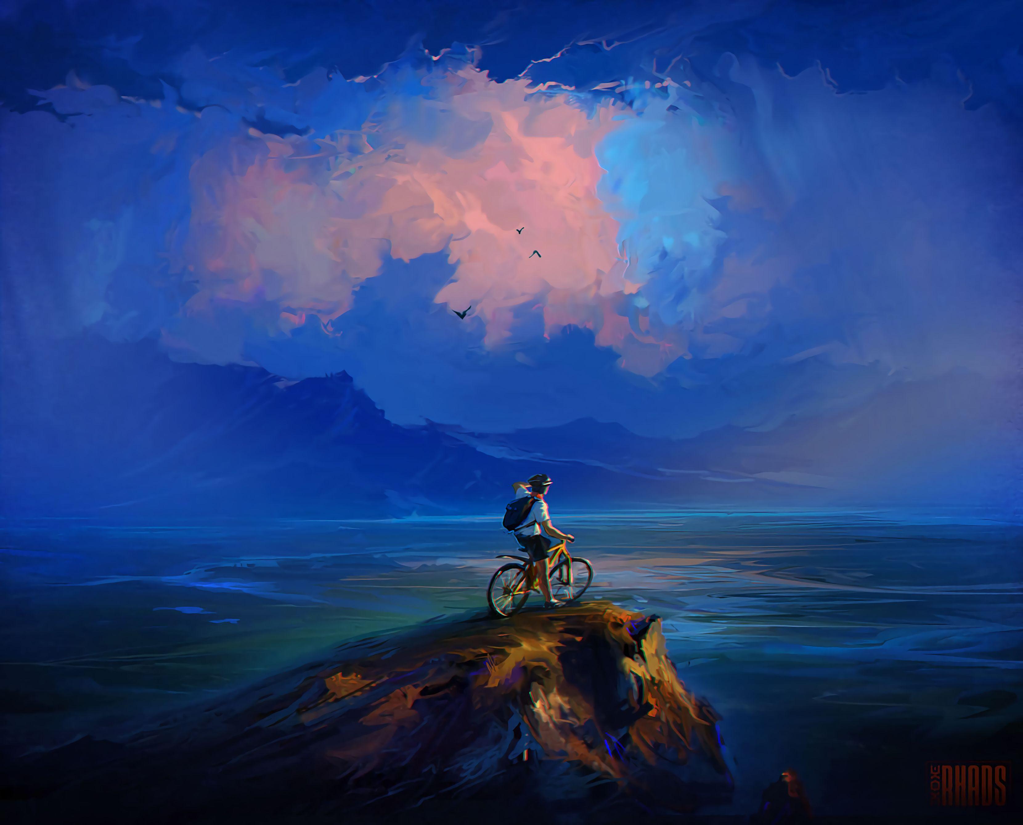 63028 papel de parede 320x480 em seu telefone gratuitamente, baixe imagens Arte, Mar, Nuvens, Pedra, Rocha, Pausa, Precipício, Ciclista 320x480 em seu celular
