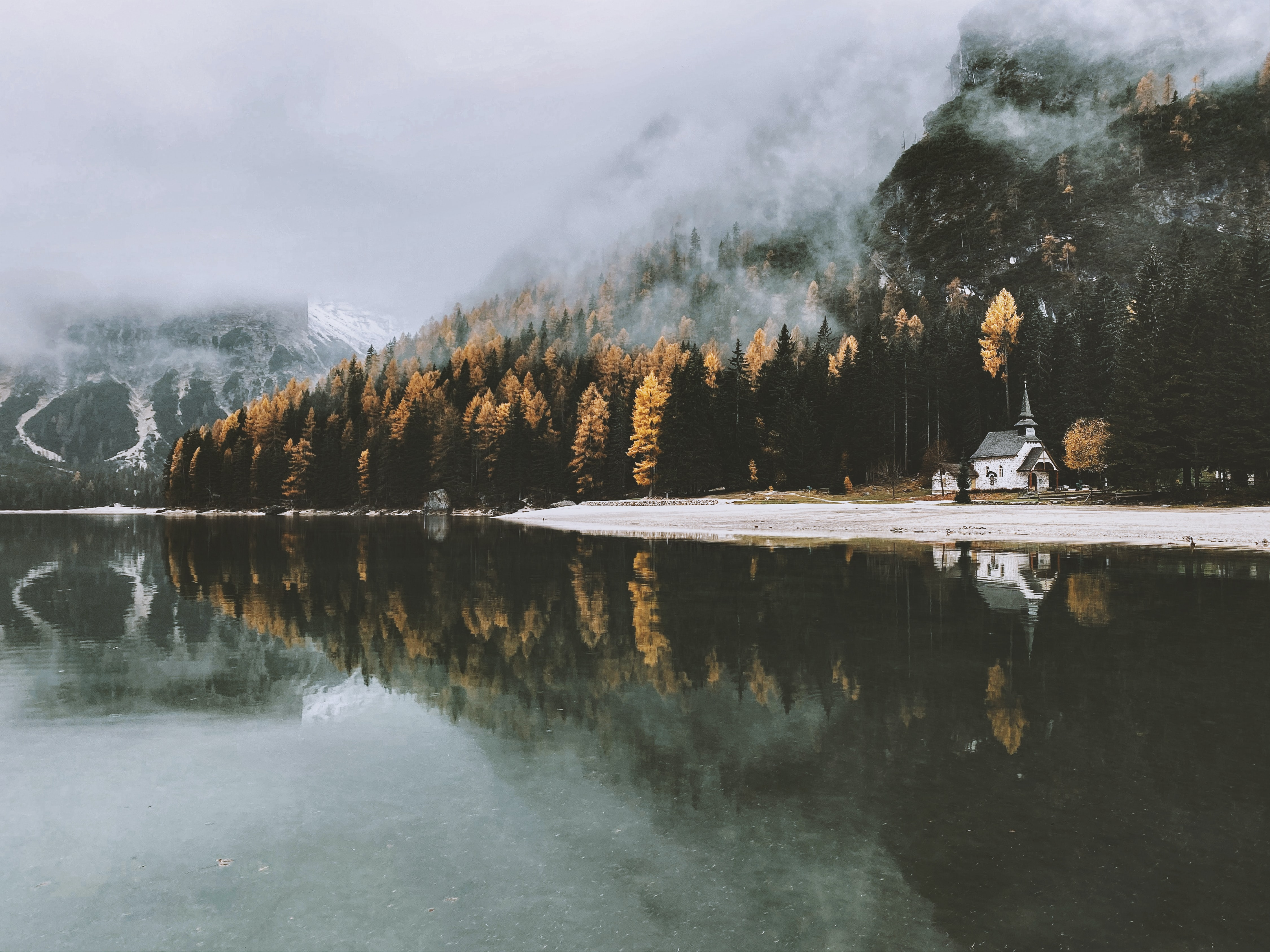 121079 download wallpaper Nature, Lock, Lake, Trees, Fog, Autumn screensavers and pictures for free