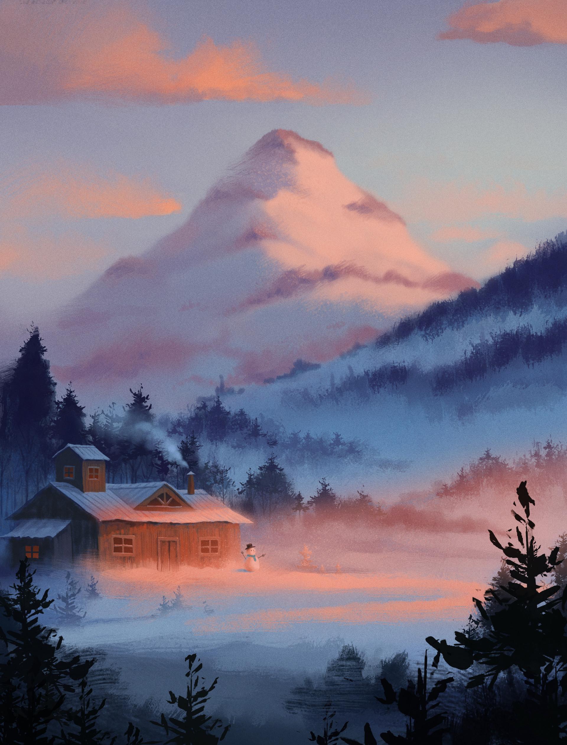 136969 Salvapantallas y fondos de pantalla Año Nuevo en tu teléfono. Descarga imágenes de Arte, Pequeña Casa, Logia, Año Nuevo, Navidad, Nieve, Invierno, Montañas gratis
