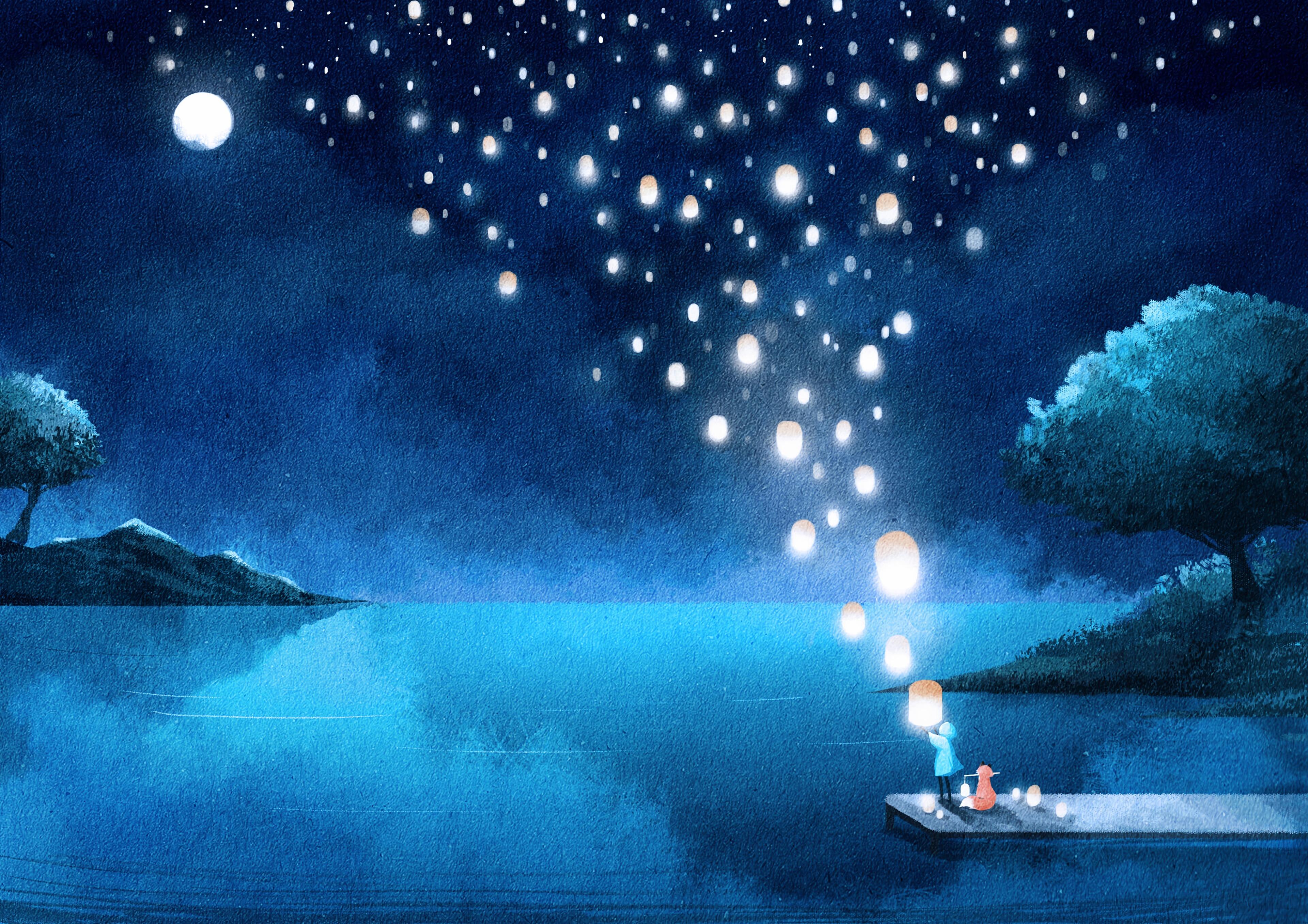 102727 Hintergrundbild 240x400 kostenlos auf deinem Handy, lade Bilder Kunst, Übernachtung, Lichter, See, Silhouette, Laternen 240x400 auf dein Handy herunter