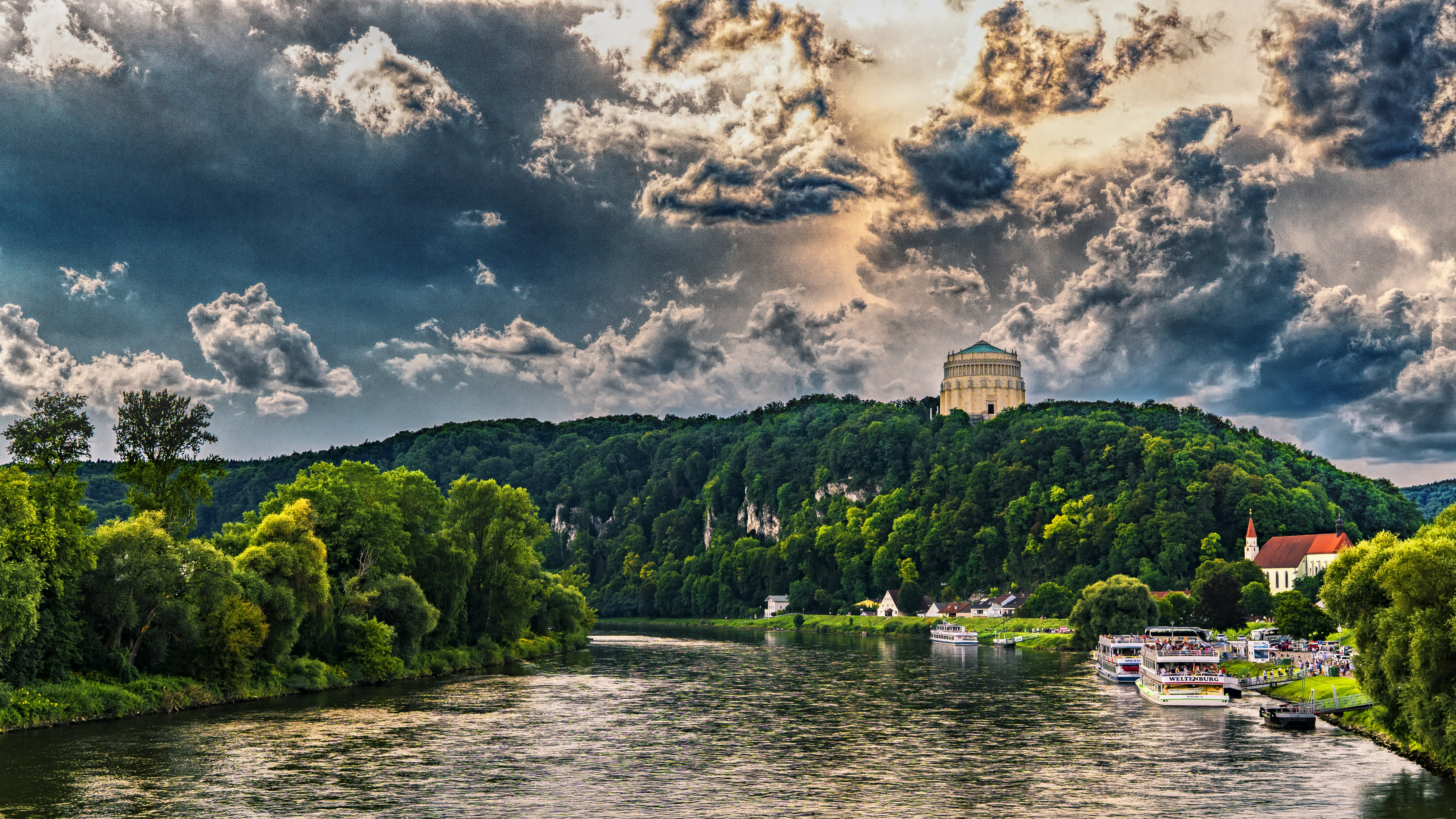 139624 Screensavers and Wallpapers Cities for phone. Download Cities, Rivers, Trees, Sky, Hdr, Bavaria pictures for free