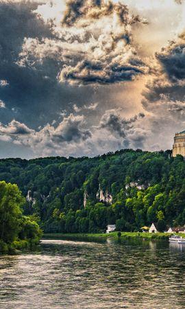 139624 Заставки и Обои Река на телефон. Скачать Бавария, Река, Деревья, Небо, Hdr, Города картинки бесплатно