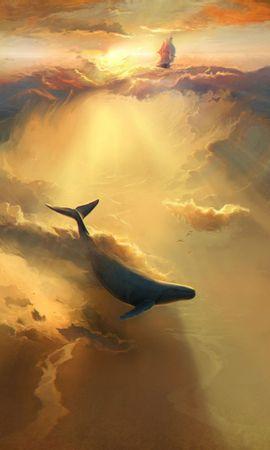 無料の壁紙をダウンロード111056:携帯電話用の鮫, イルカ, 海, アート, 水中の世界, 水中ワールド壁紙