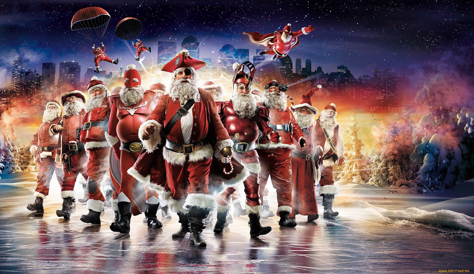 15277 скачать обои Праздники, Люди, Пираты, Новый Год (New Year), Санта Клаус (Santa Claus), Мужчины, Рождество (Christmas, Xmas) - заставки и картинки бесплатно