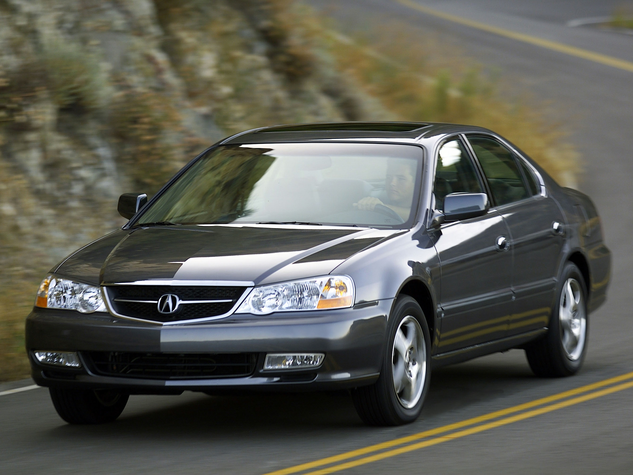 81848 download wallpaper Cars, Acura, Tl, 2002, Front View, Style, Auto, Akura, Asphalt, Mountains screensavers and pictures for free