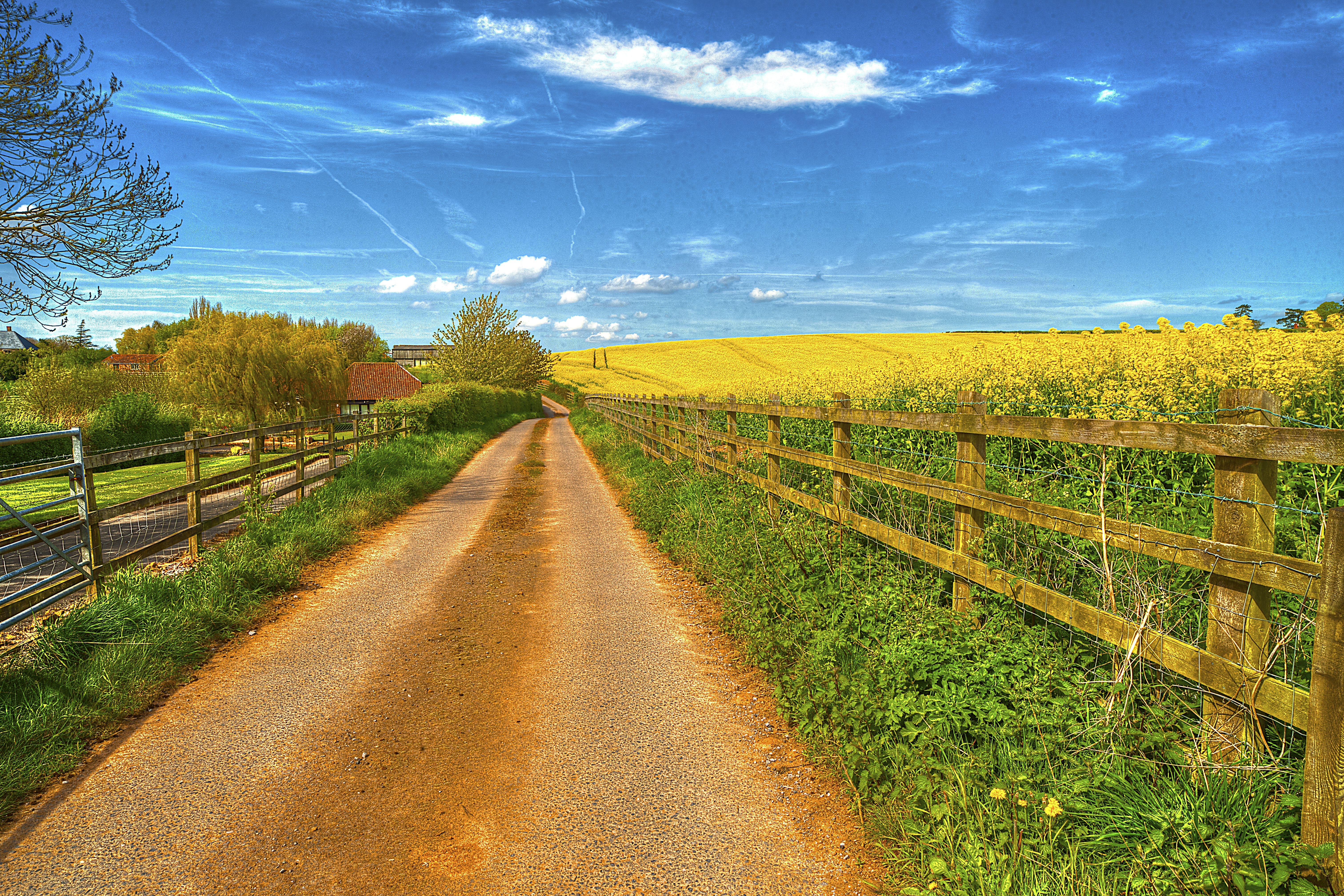152592 download wallpaper Landscape, Nature, Houses, Road, Field, Fence screensavers and pictures for free