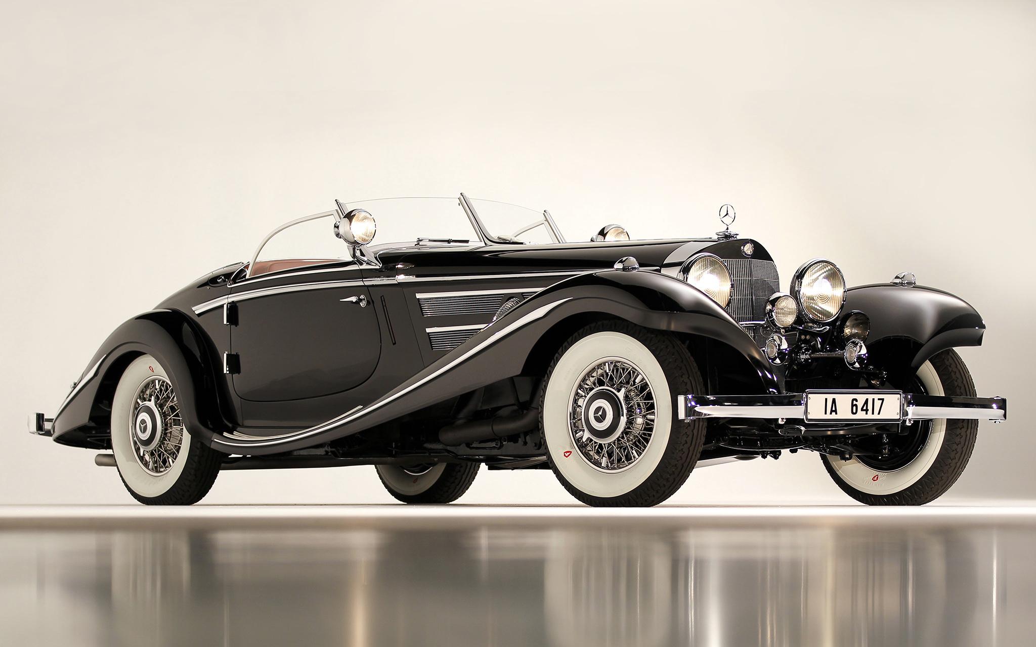 153046 Lade kostenlos Schwarz Hintergrundbilder für dein Handy herunter, Auto, Mercedes, Cars, Wagen, Das Schwarze, Klassisch, Klassik, 1936, 540K, Spezieller Roadster, Spezial-Roadster Schwarz Bilder und Bildschirmschoner für dein Handy