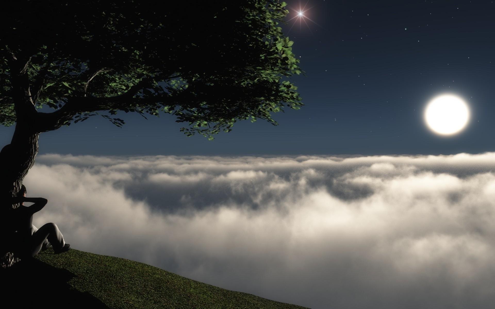 26139 скачать обои Пейзаж, Люди, Деревья, Ночь, Облака - заставки и картинки бесплатно