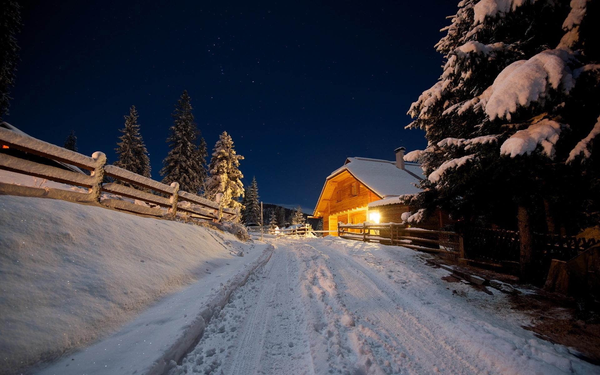 21438 скачать обои Пейзаж, Зима, Дома, Деревья, Ночь, Снег - заставки и картинки бесплатно