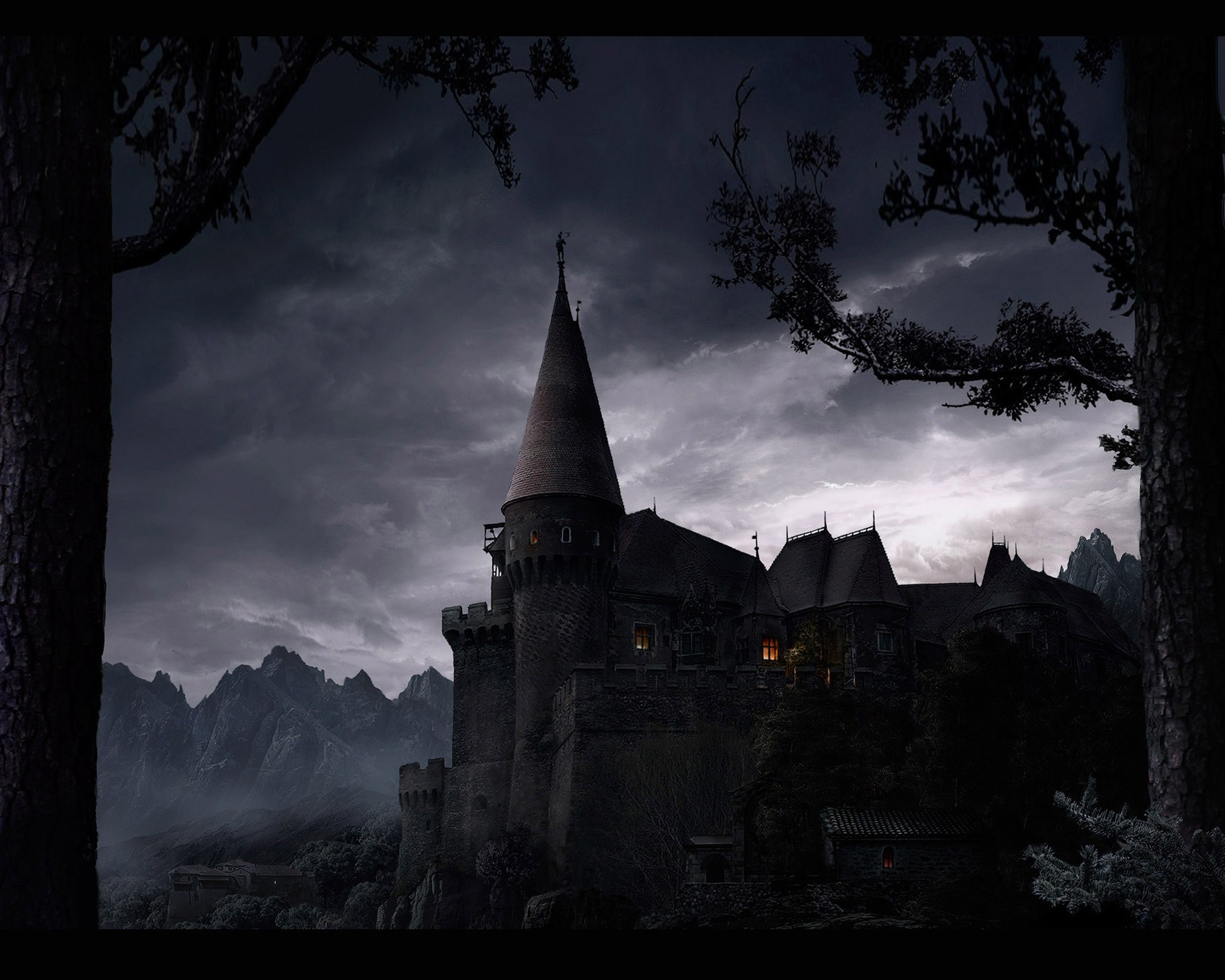 125630 download wallpaper Fantasy, Lock, Elevation, Rise, Night, Shine, Light, Trees, Walls screensavers and pictures for free