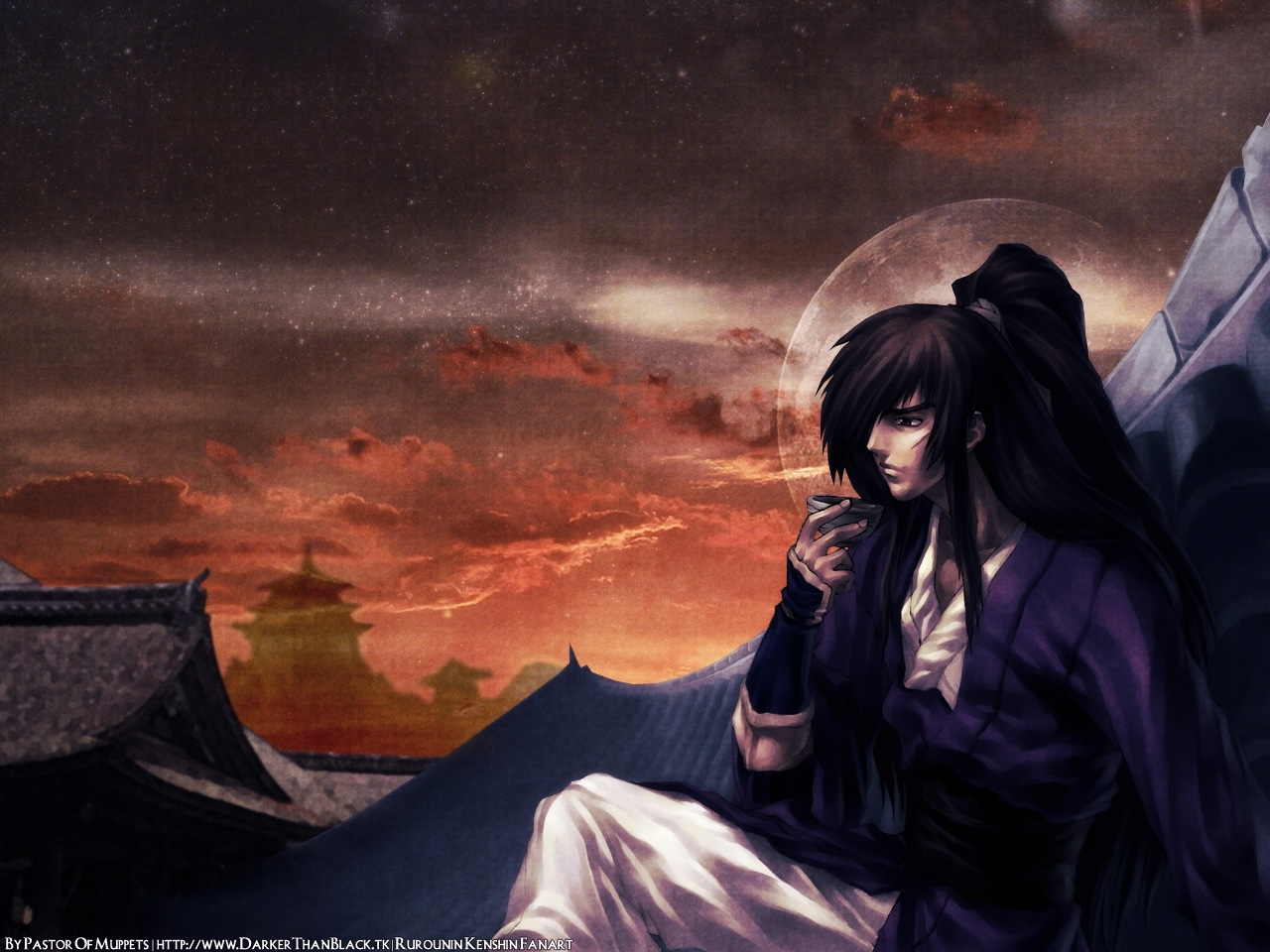 335 download wallpaper Anime, Sunset, Men screensavers and pictures for free