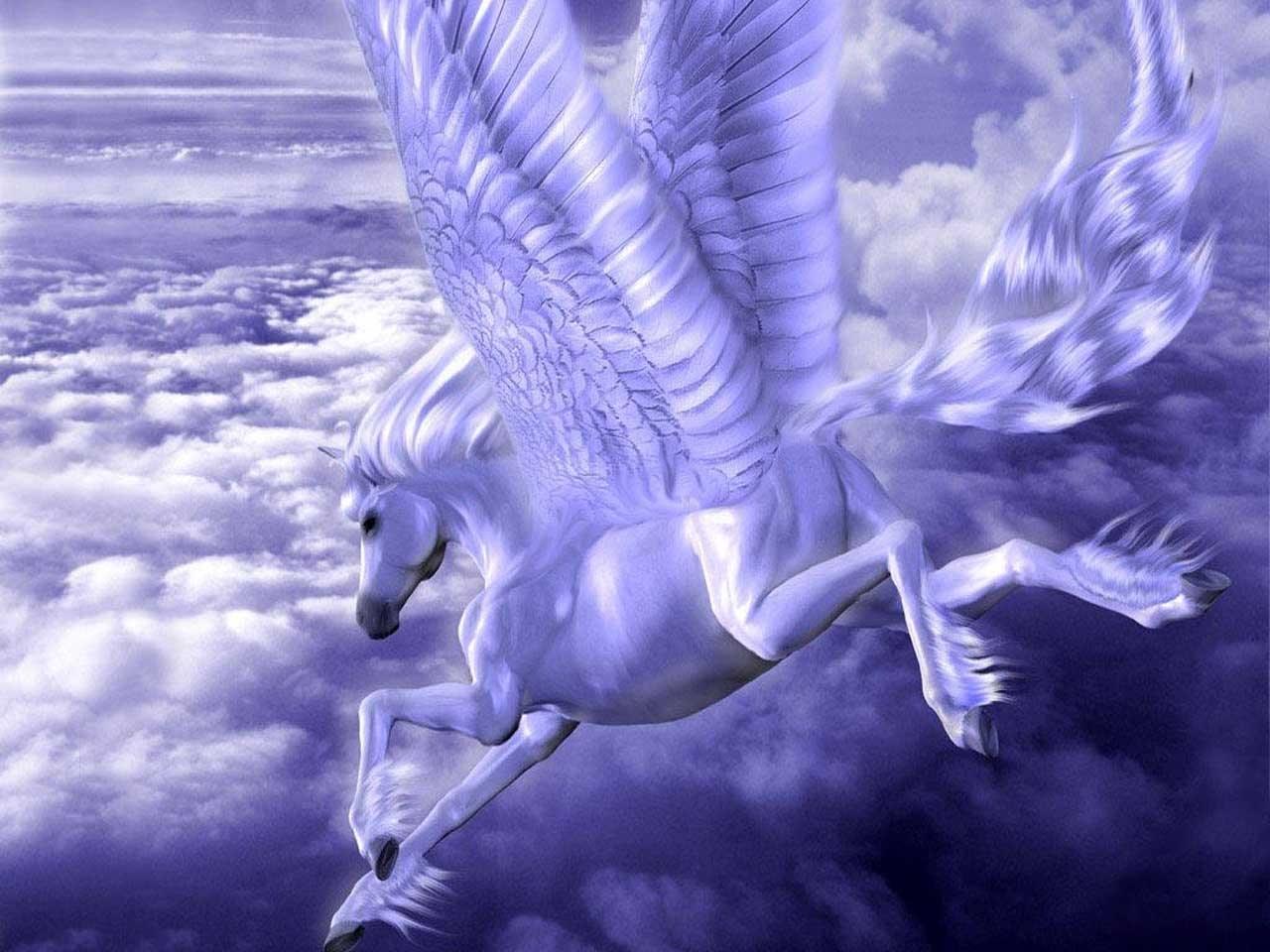 25425 скачать обои Животные, Фэнтези, Небо, Лошади, Облака - заставки и картинки бесплатно