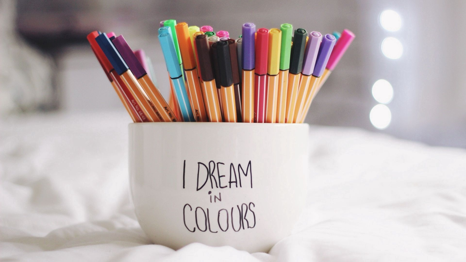 135610 download wallpaper Words, Multicolored, Motley, Cup, Pens, Handles, Dreams, Reverie screensavers and pictures for free