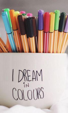 135610壁紙のダウンロード言葉, ペン, ハンドル, カップ, 夢, 夢想, 色とりどり, モトリー-スクリーンセーバーと写真を無料で