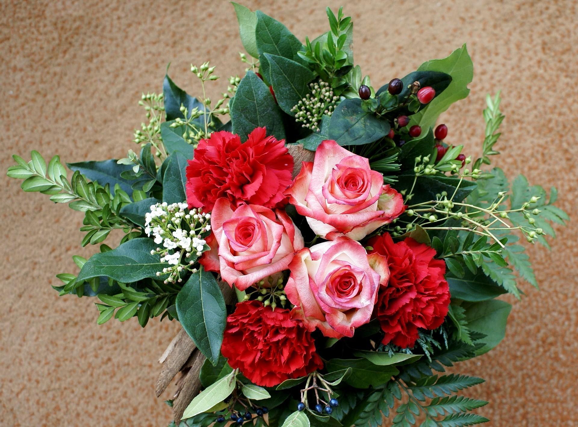 141218 скачать обои Гвоздики, Цветы, Розы, Листья, Зелень, Букет, Композиция - заставки и картинки бесплатно