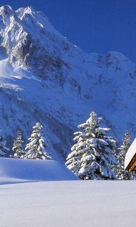8017 скачать обои Пейзаж, Зима, Дома, Горы, Снег, Елки - заставки и картинки бесплатно
