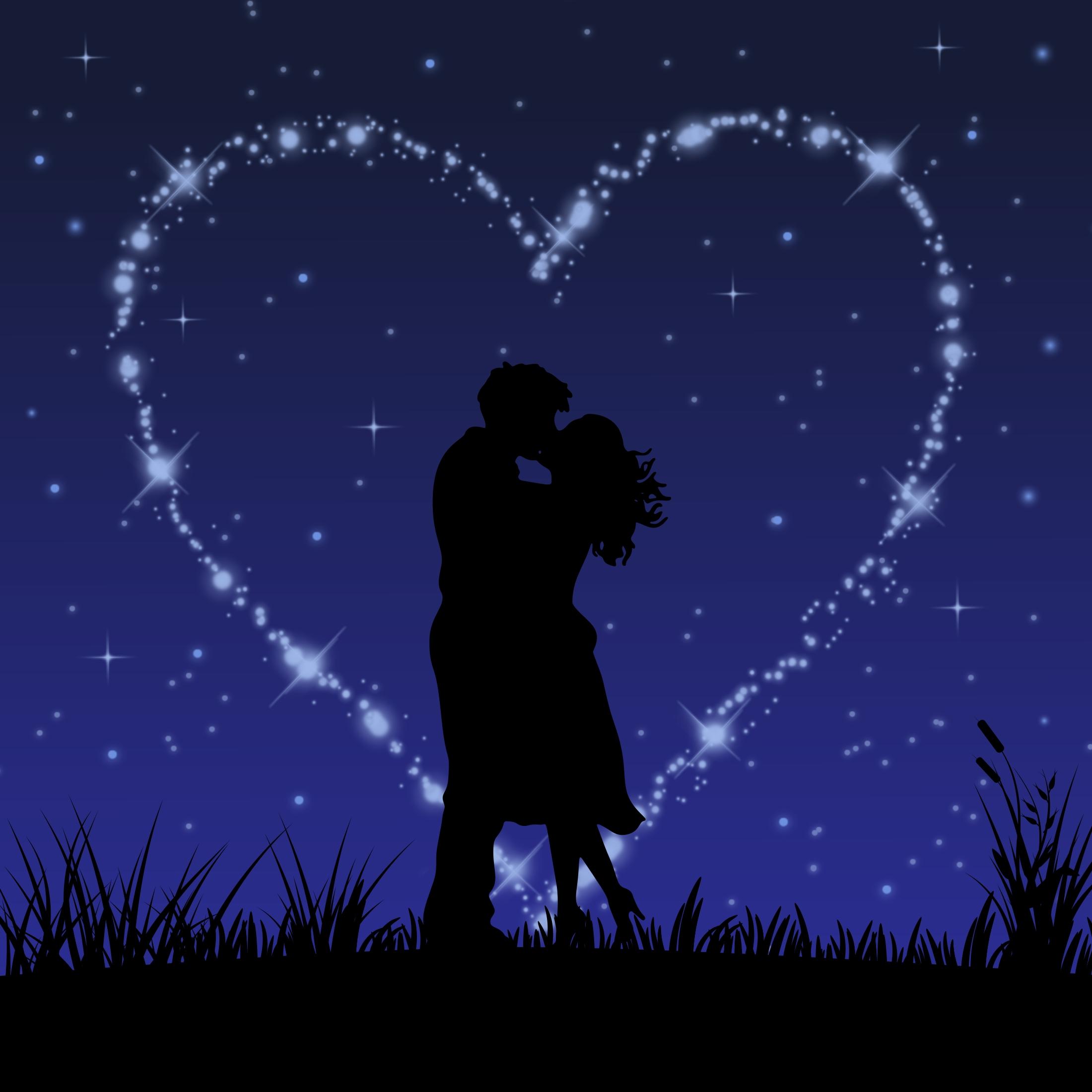 68359 скачать обои Поцелуй, Арт, Звезды, Любовь, Пара, Блеск - заставки и картинки бесплатно
