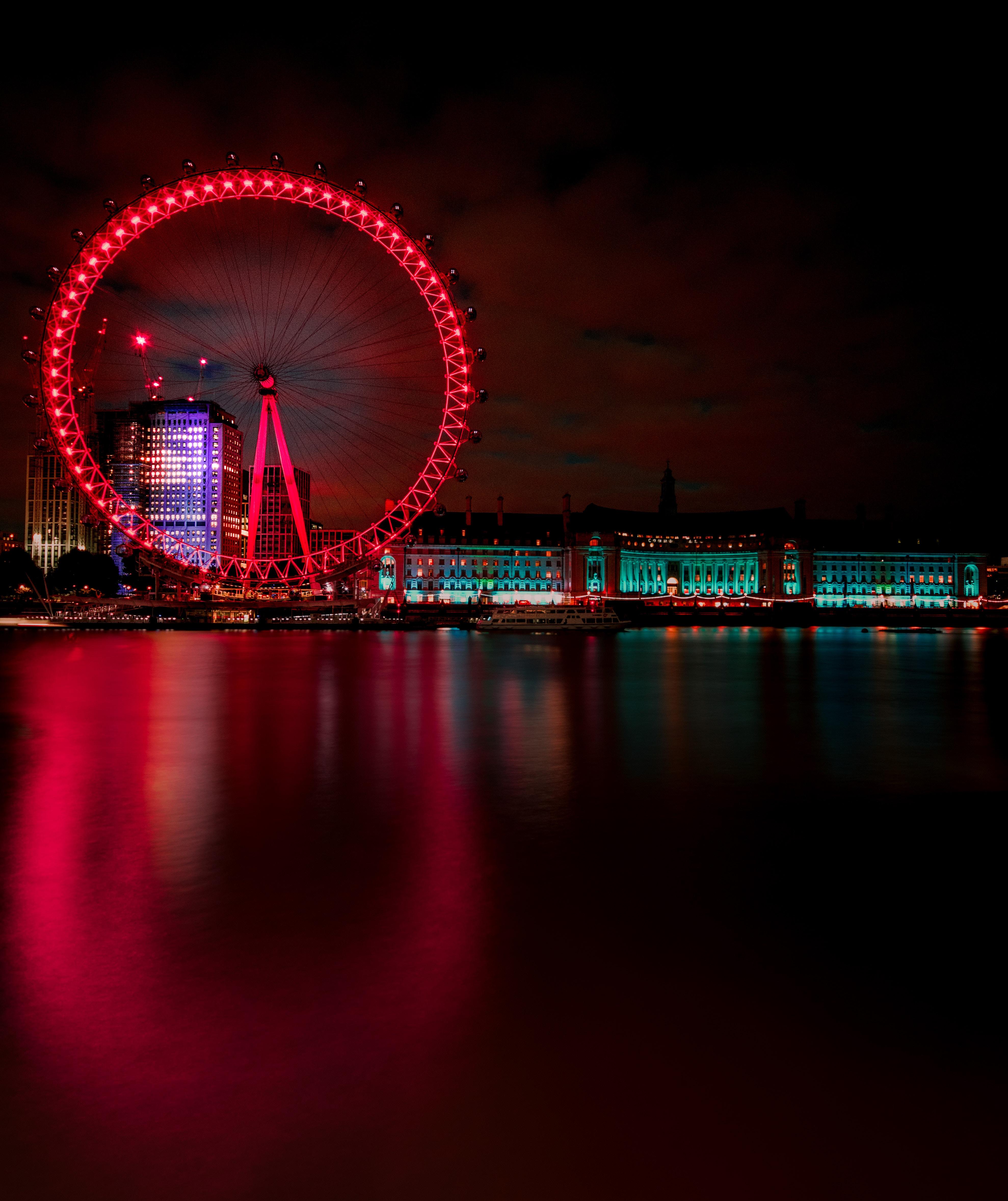 57838 Hintergrundbild herunterladen Städte, Großbritannien, London, Nächtliche Stadt, Night City, Riesenrad, Vereinigtes Königreich - Bildschirmschoner und Bilder kostenlos
