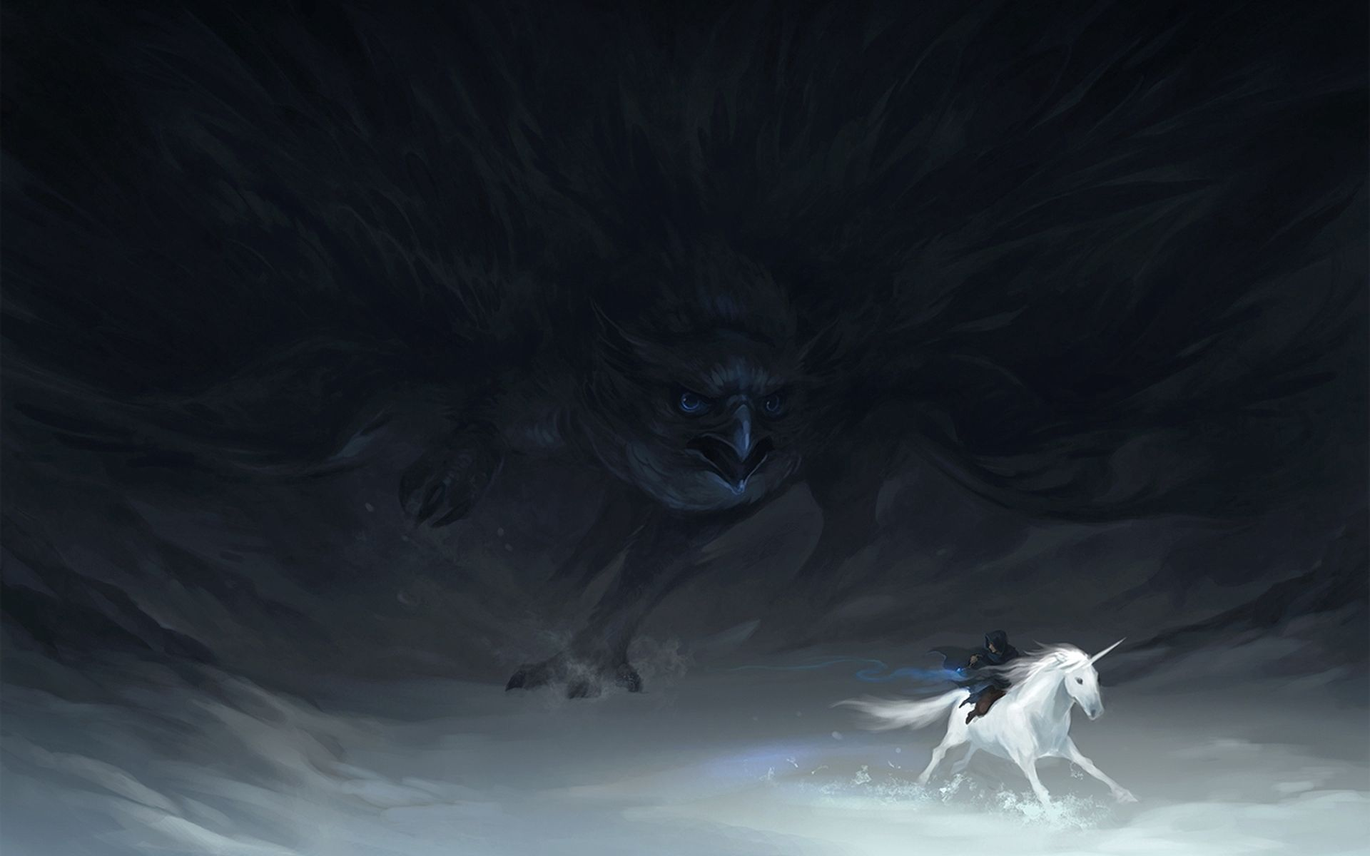 88325 download wallpaper Fantasy, Chase, Unicorn, Hunting, Hunt, Hawk, Creatures screensavers and pictures for free