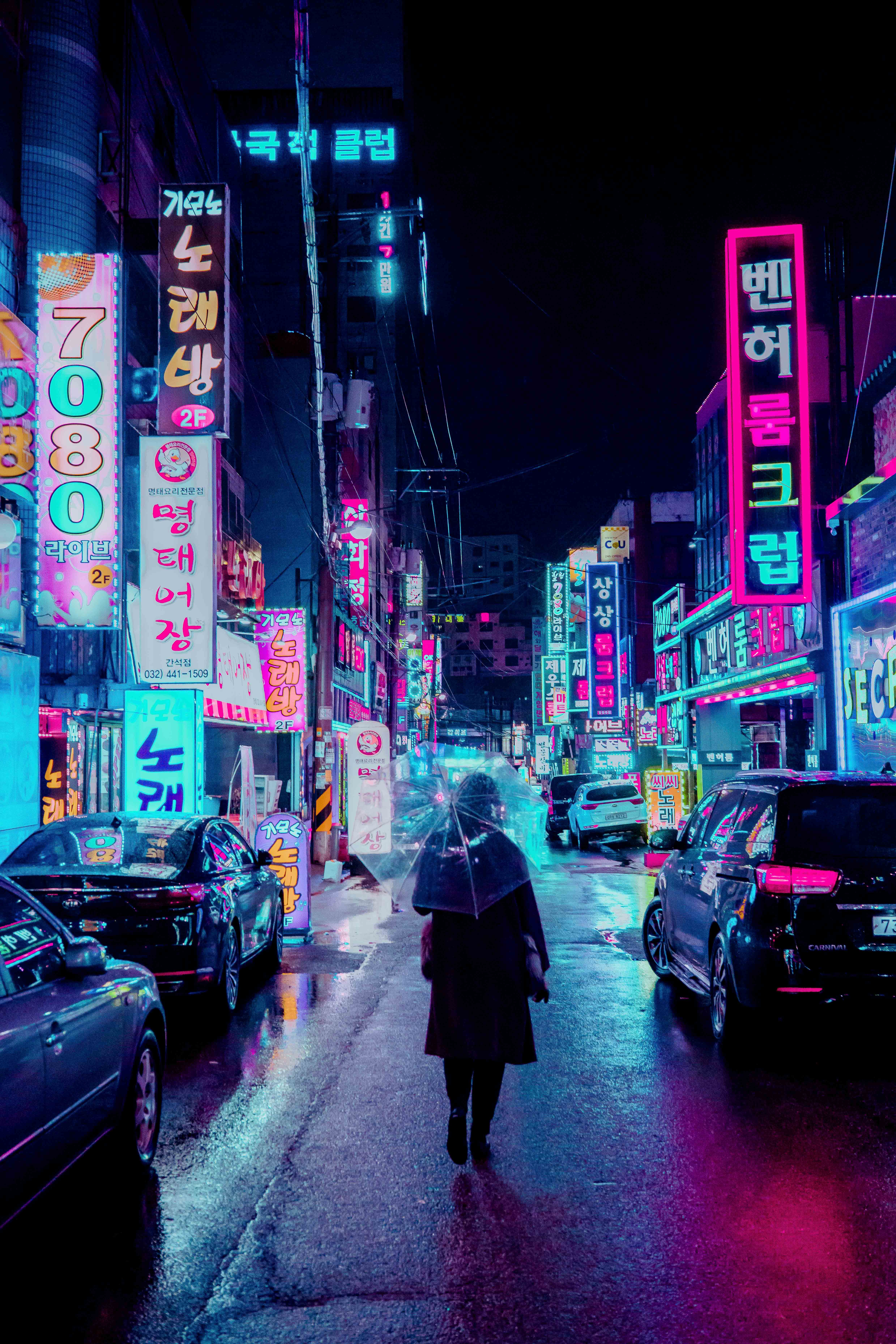 138257 Screensavers and Wallpapers Cities for phone. Download Umbrella, Cities, Signs, Night City, Neon, Backlight, Illumination, Human, Person, Street, Signboards pictures for free