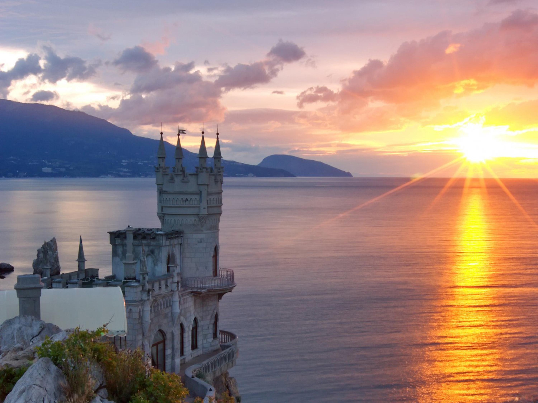 11111 скачать обои Пейзаж, Море, Солнце, Архитектура, Замки - заставки и картинки бесплатно