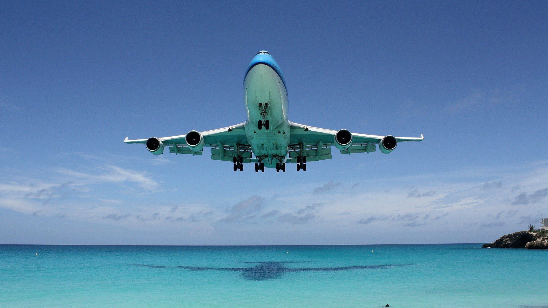 100517 download wallpaper Miscellanea, Miscellaneous, Ocean, Shadow, Flight, Boeing 747 screensavers and pictures for free