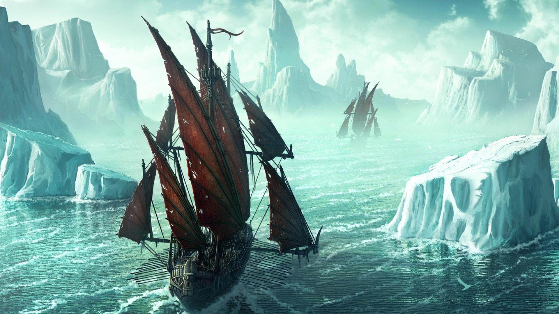 9194 скачать обои Пейзаж, Корабли, Море, Рисунки - заставки и картинки бесплатно