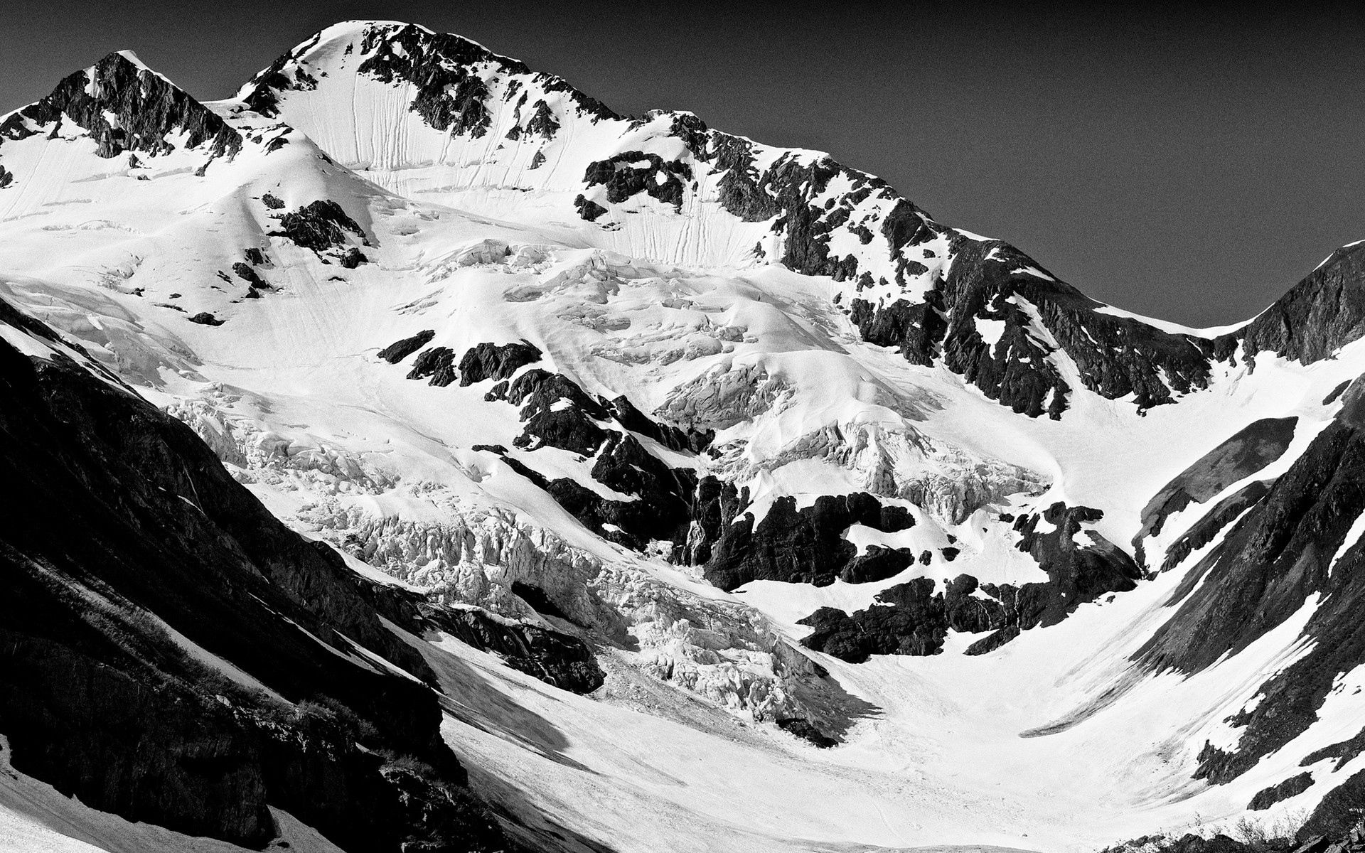 77824 Screensavers and Wallpapers Bw for phone. Download Nature, Mountains, Snow, Vertex, Bw, Chb, Tops pictures for free