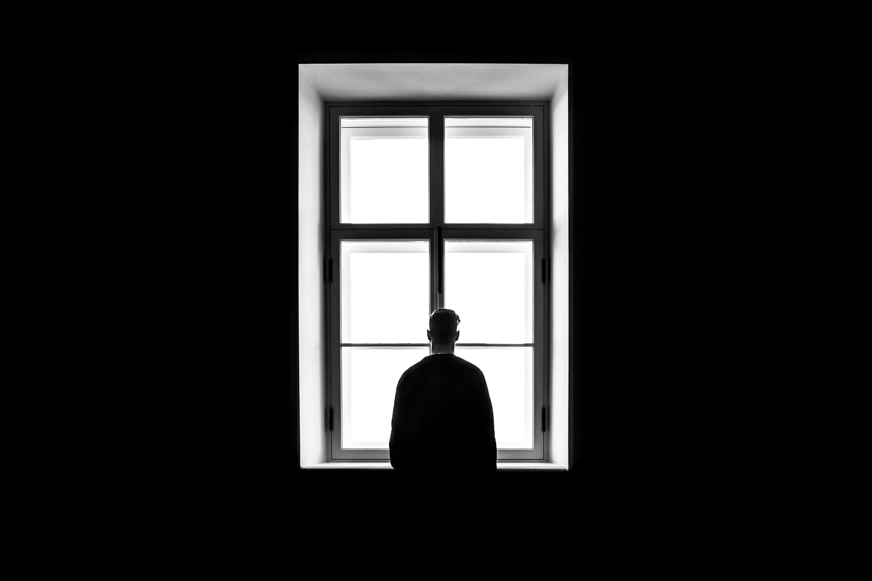 96935 Screensavers and Wallpapers Bw for phone. Download Minimalism, Bw, Chb, Window, Man, Loneliness pictures for free