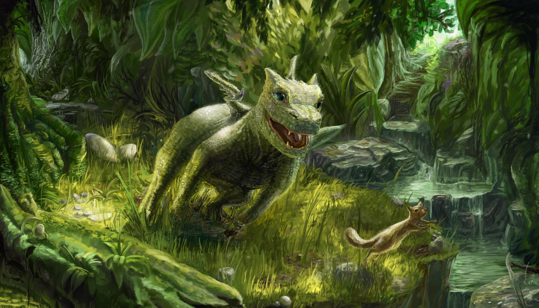 55533 Hintergrundbild herunterladen Fantasie, Natur, Eichhörnchen, Grüne, Grünen, Der Drache, Drachen, Spiel, Das Spiel, Klein - Bildschirmschoner und Bilder kostenlos