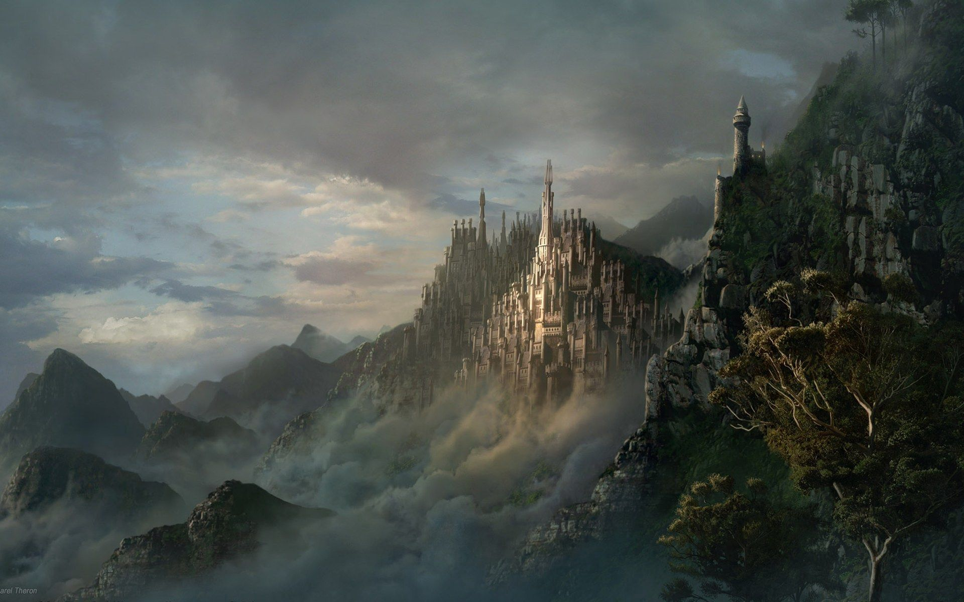 58532 download wallpaper Fantasy, Lock, City, Fog, Mountains screensavers and pictures for free