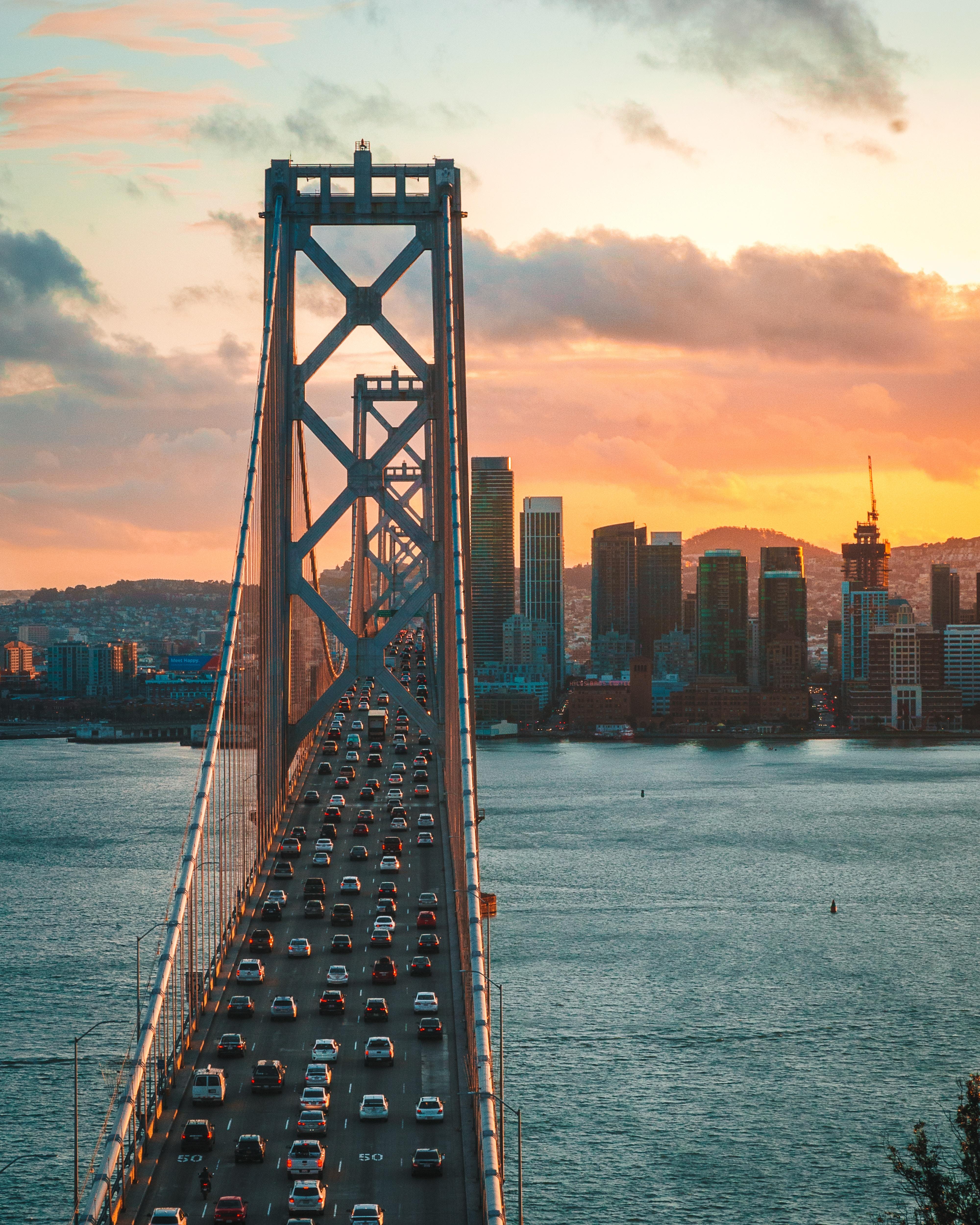 84794 скачать обои Сан-Франциско, Города, Закат, Город, Движение, Мост, Сша, Трафик - заставки и картинки бесплатно