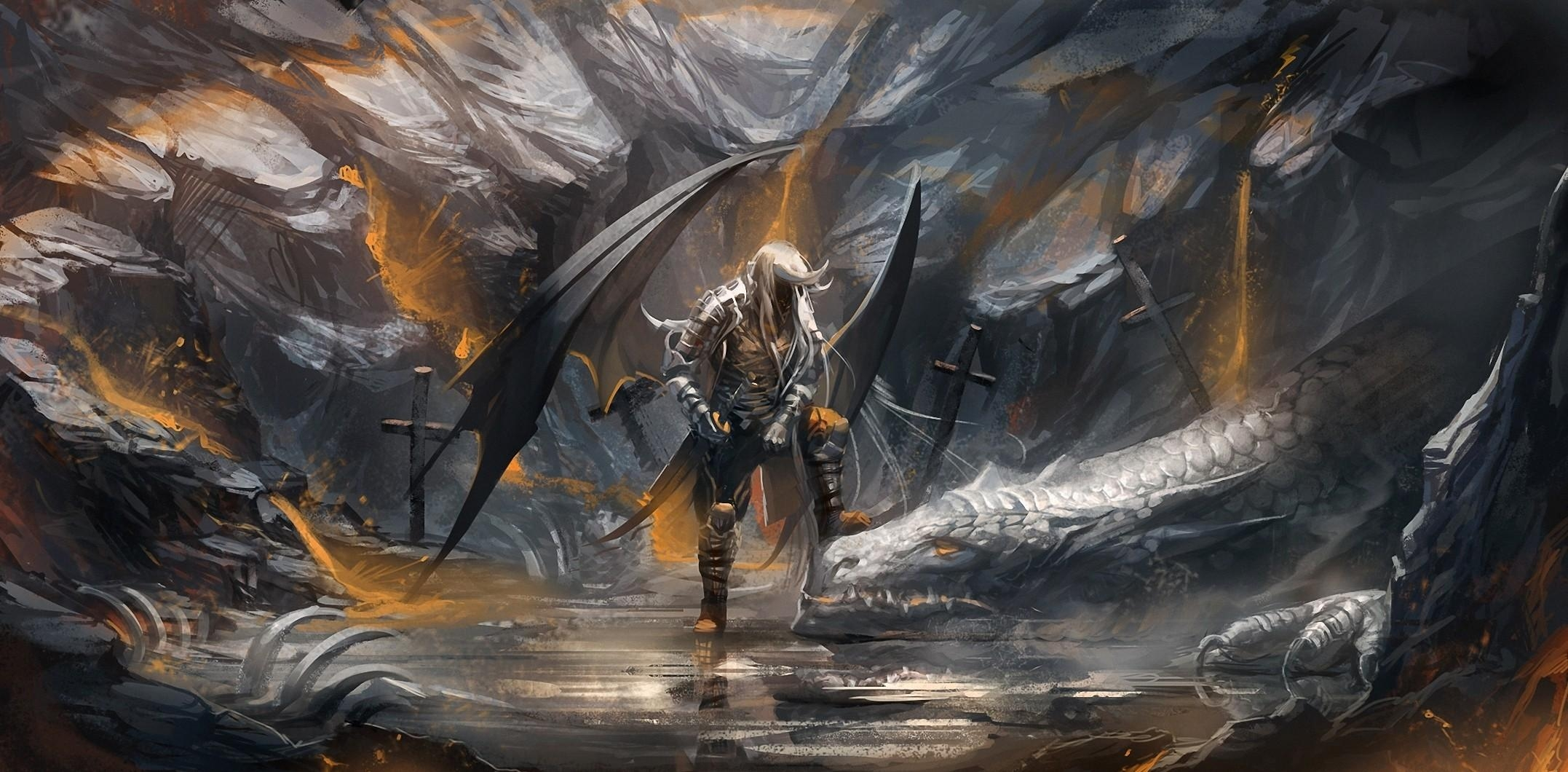 53954 download wallpaper Fantasy, Demon, Dragon, Cave, Swords screensavers and pictures for free
