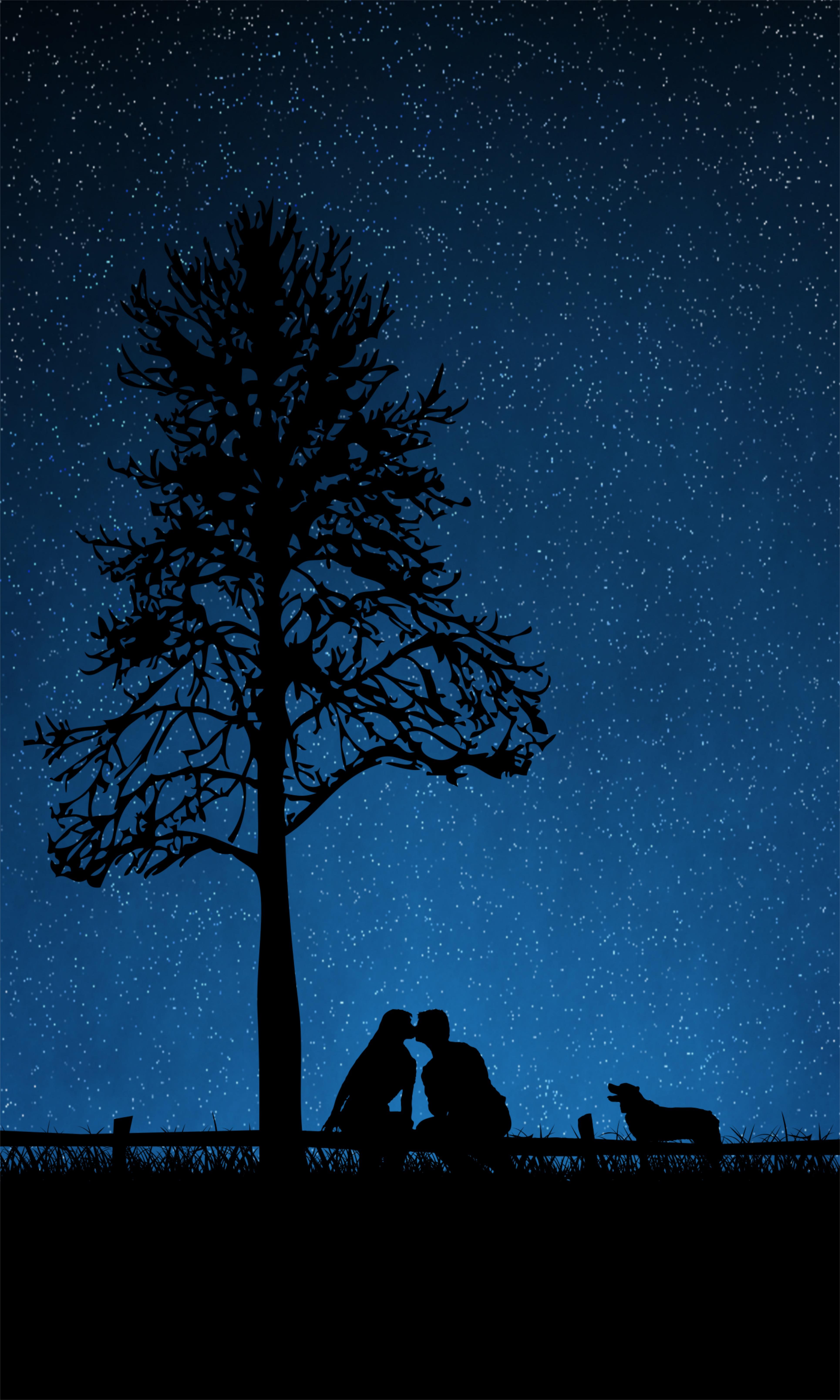 125121 Заставки и Обои Любовь на телефон. Скачать Любовь, Пара, Силуэты, Поцелуй, Собака, Звездное Небо, Дерево картинки бесплатно
