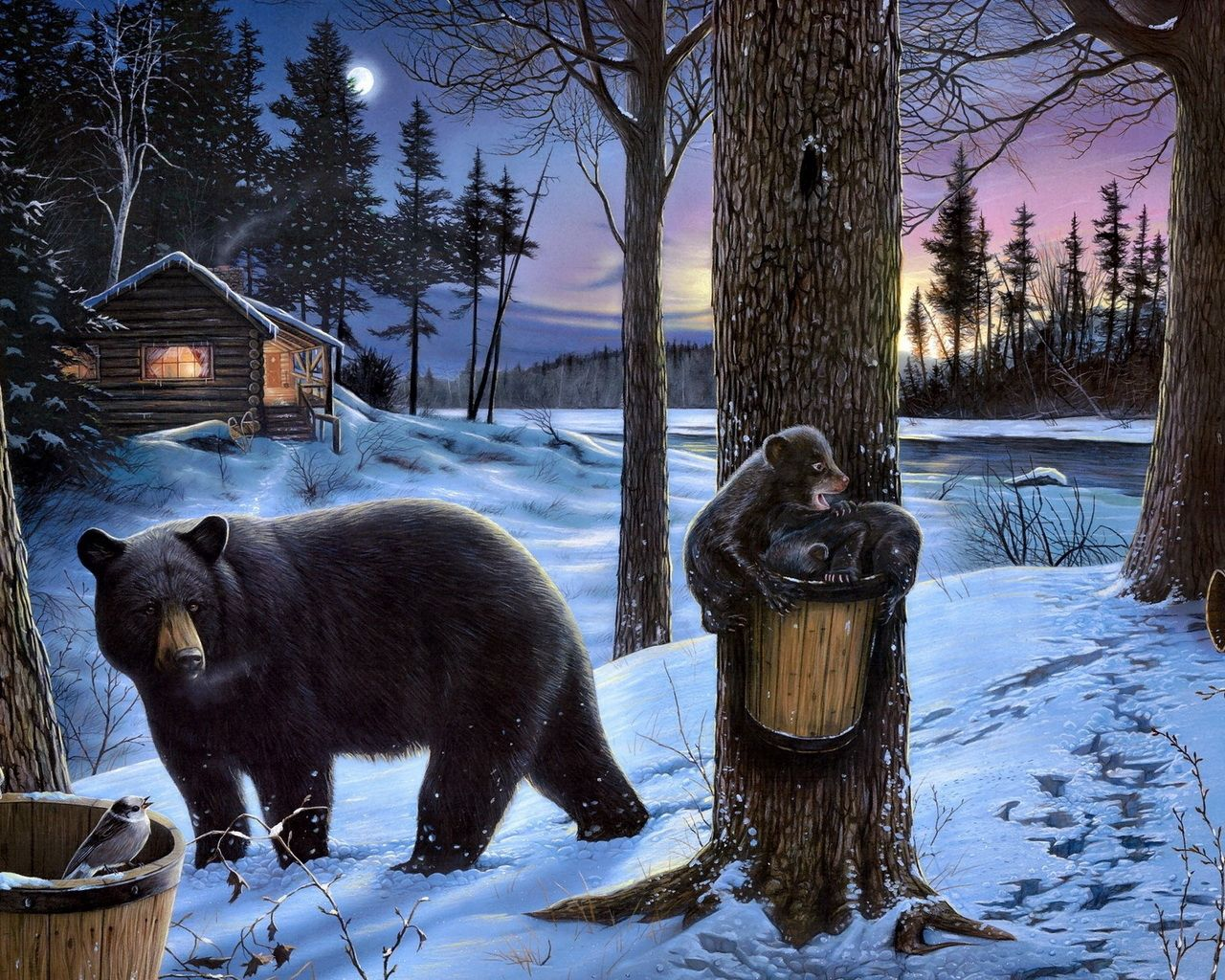 79585 Screensavers and Wallpapers Bears for phone. Download Animals, Food, Bears, Forest, Bear, Small House, Lodge, Stroll, Family, Teddy Bears pictures for free