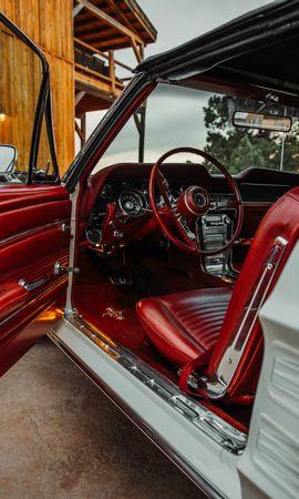 Скачать бесплатно картинку 134774: Тачки (Cars), Автомобиль, Руль, Салон, Сидения, Красный обои на телефон