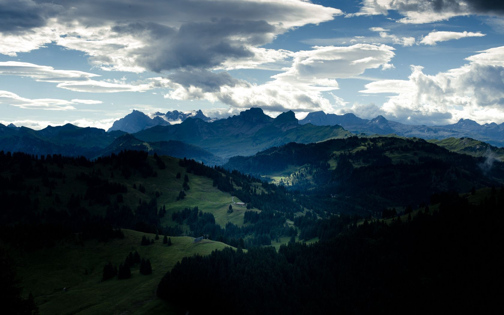 70244 download wallpaper Nature, Valley, Forest, Clouds, Mountains screensavers and pictures for free