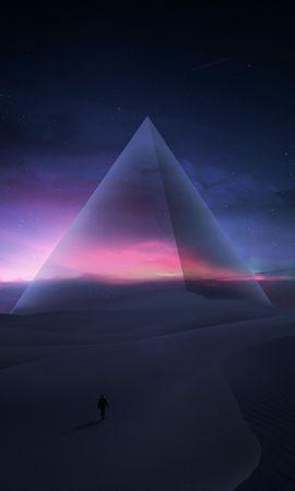 62671 скачать обои Арт, Силуэт, Пирамида, Звездное Небо, Пустыня, Звезды - заставки и картинки бесплатно