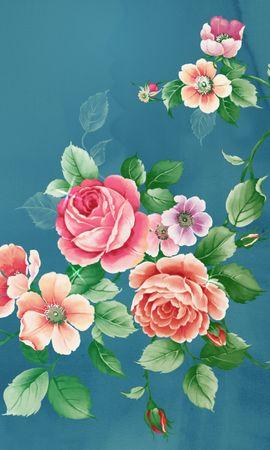 10109 скачать Бирюзовые обои на телефон бесплатно, Растения, Цветы, Розы, Рисунки Бирюзовые картинки и заставки на мобильный