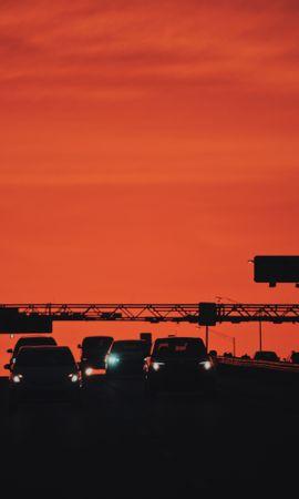 126080 descargar fondo de pantalla Oscuro, Carros, Coches, Transporte, Puesta Del Sol, Faros, Luces: protectores de pantalla e imágenes gratis