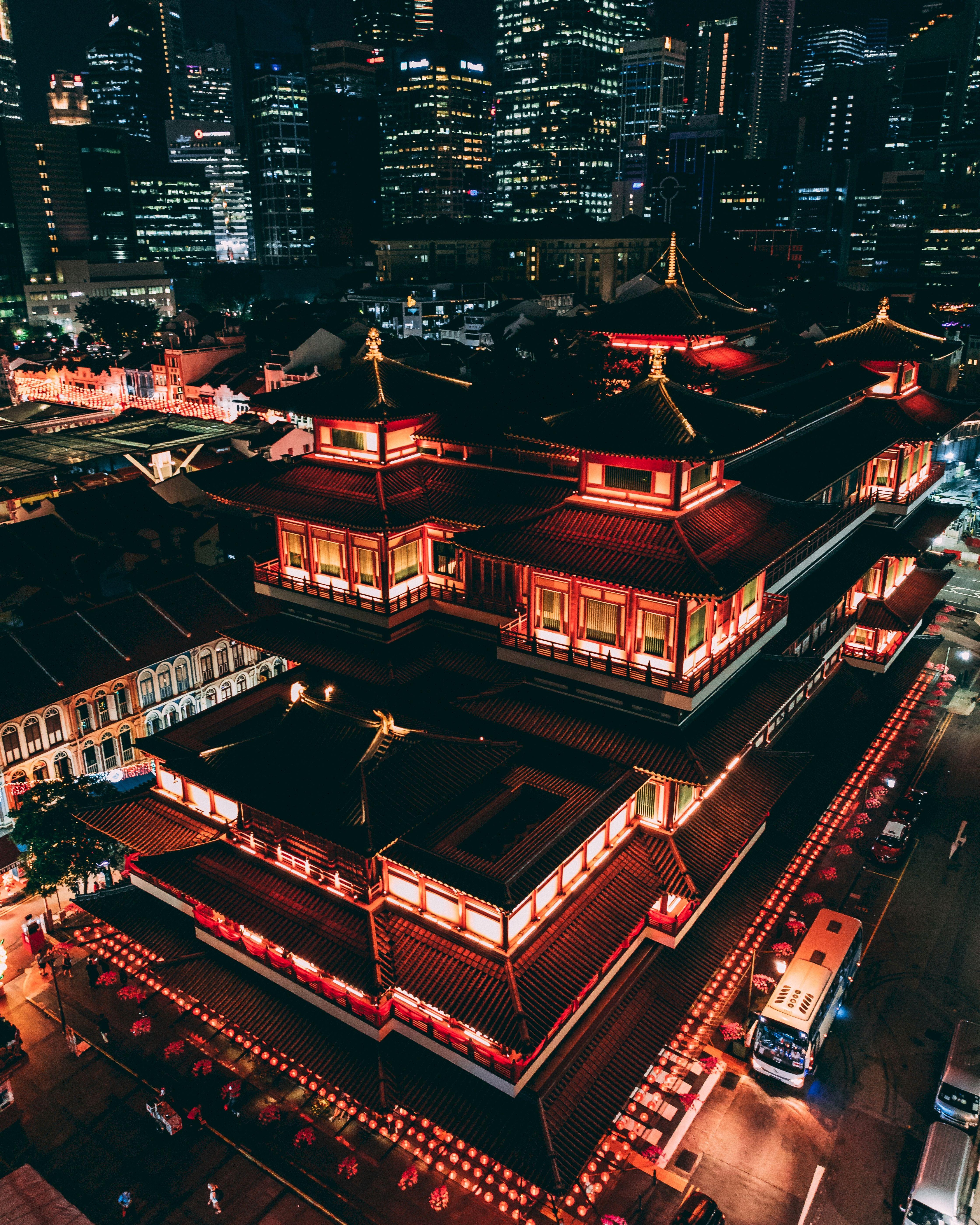 112108 Заставки и Обои Архитектура на телефон. Скачать Китай, Города, Архитектура, Вид Сверху, Ночной Город, Пагода, Крыши картинки бесплатно