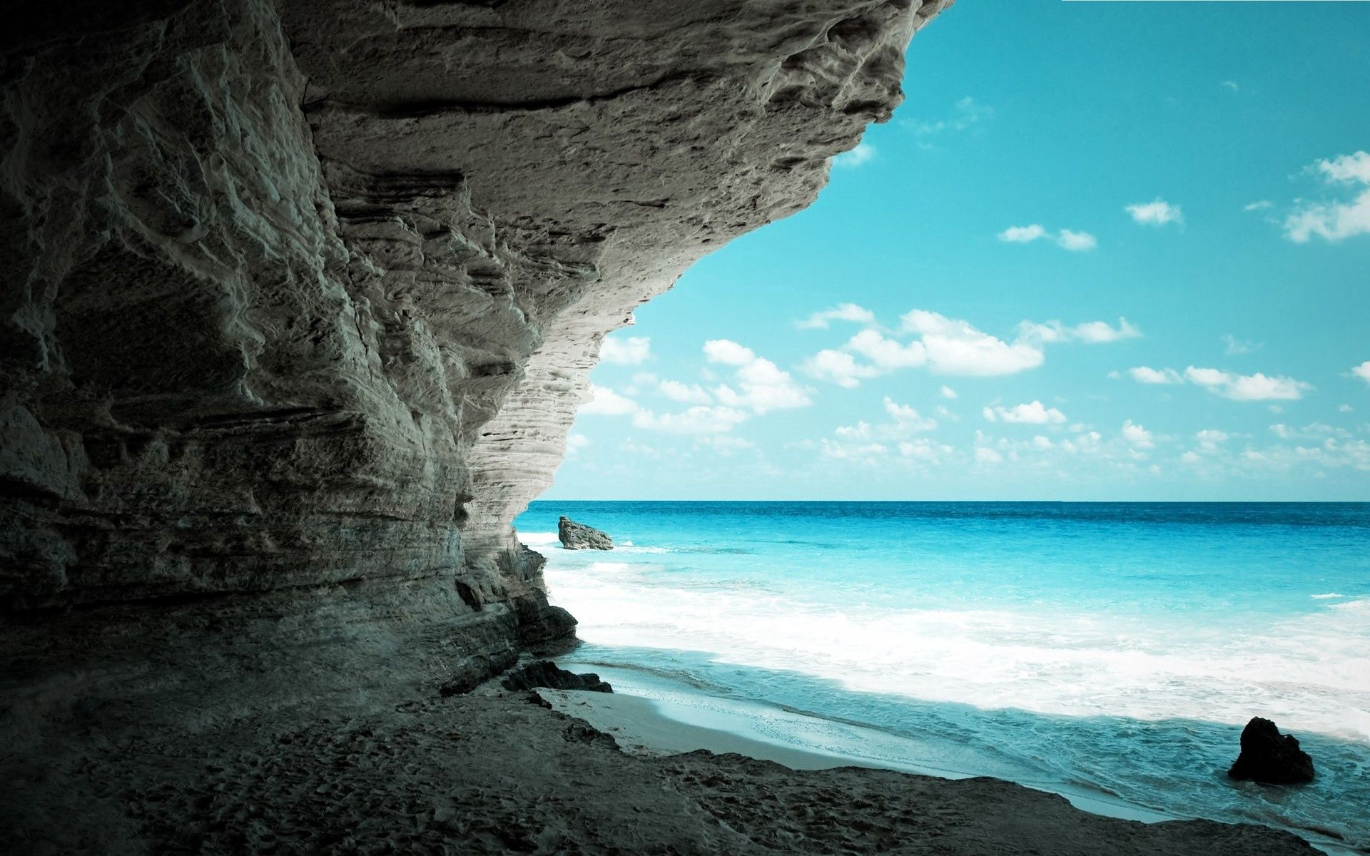 116915 télécharger le fond d'écran Nature, Mer, Rocheux, Rocher, Rive, Banque, La Grotte, Grotte, Paradis - économiseurs d'écran et images gratuitement