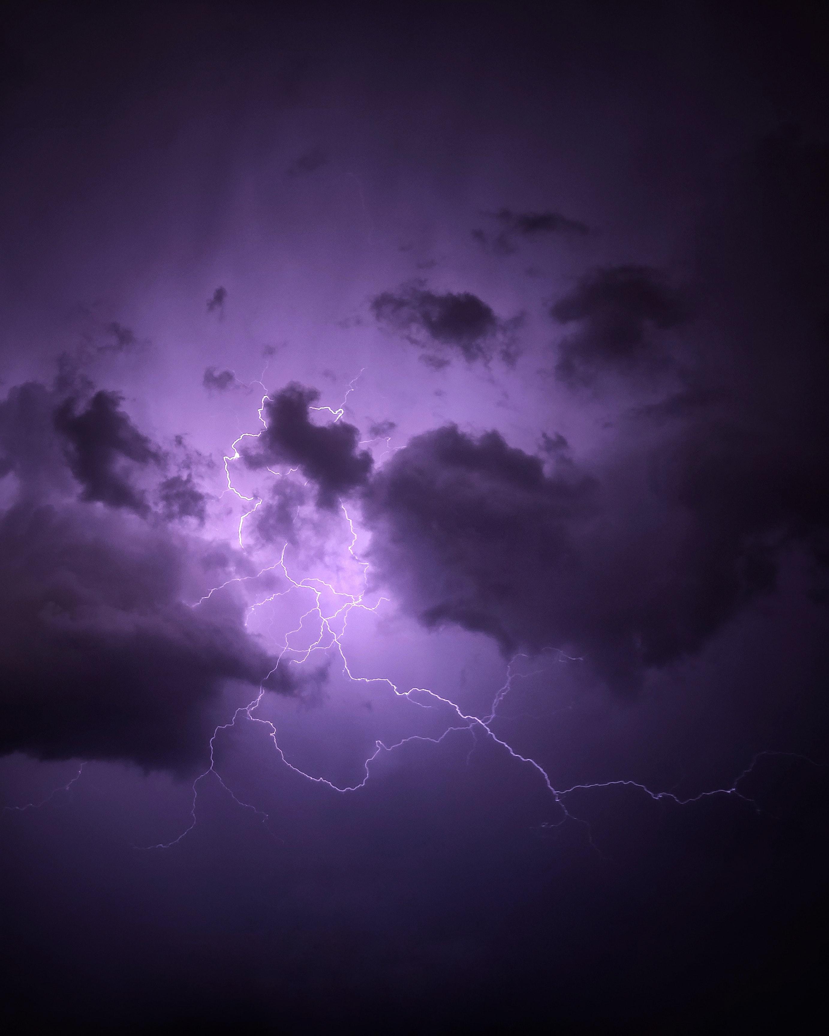 102494 Заставки и Обои Молния на телефон. Скачать Гроза, Молния, Природа, Облака, Фиолетовый картинки бесплатно