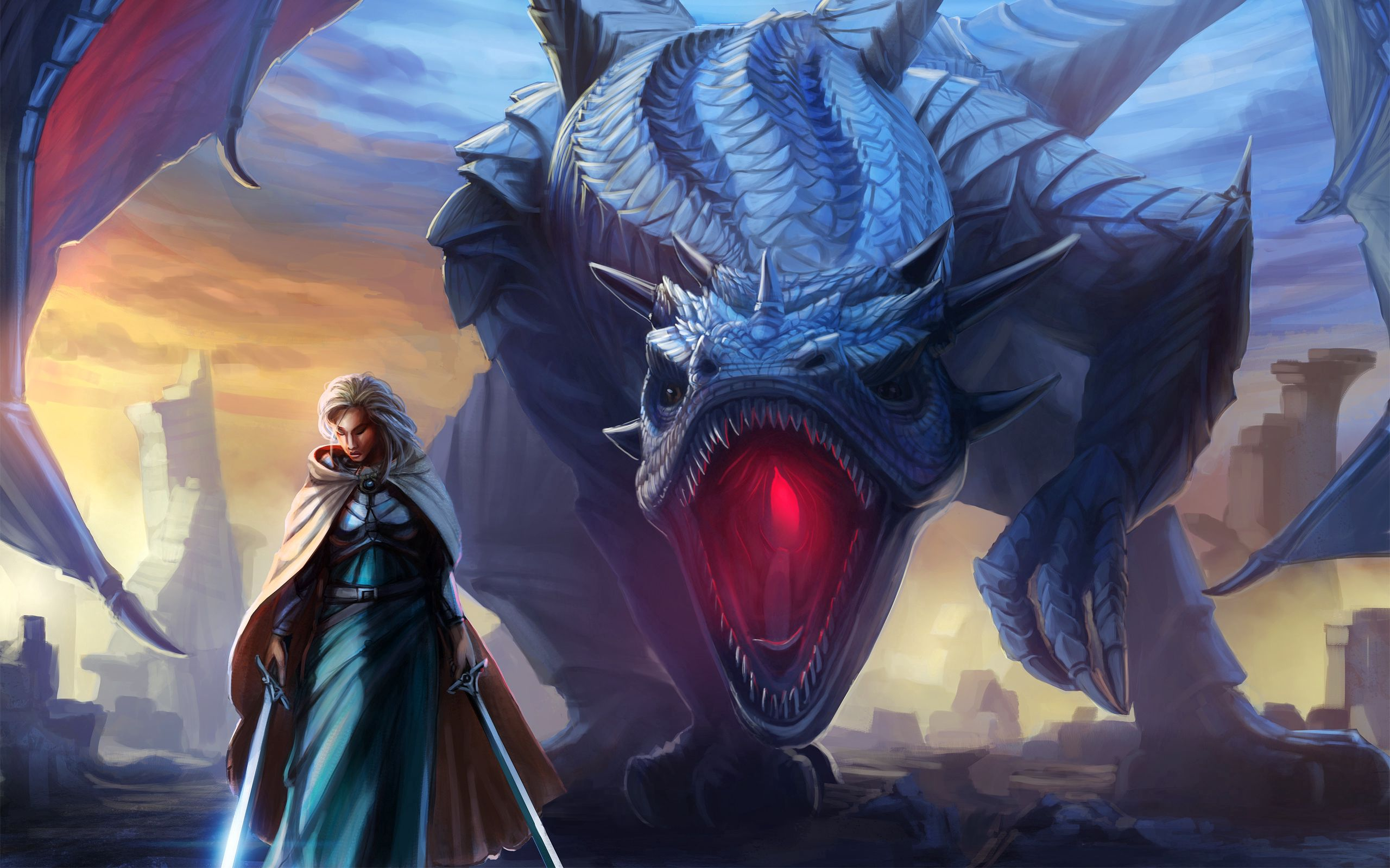 87694 download wallpaper Girl, Dragon, Fantasy, Sword, Wings, To Fall, Mouth, Cloak screensavers and pictures for free