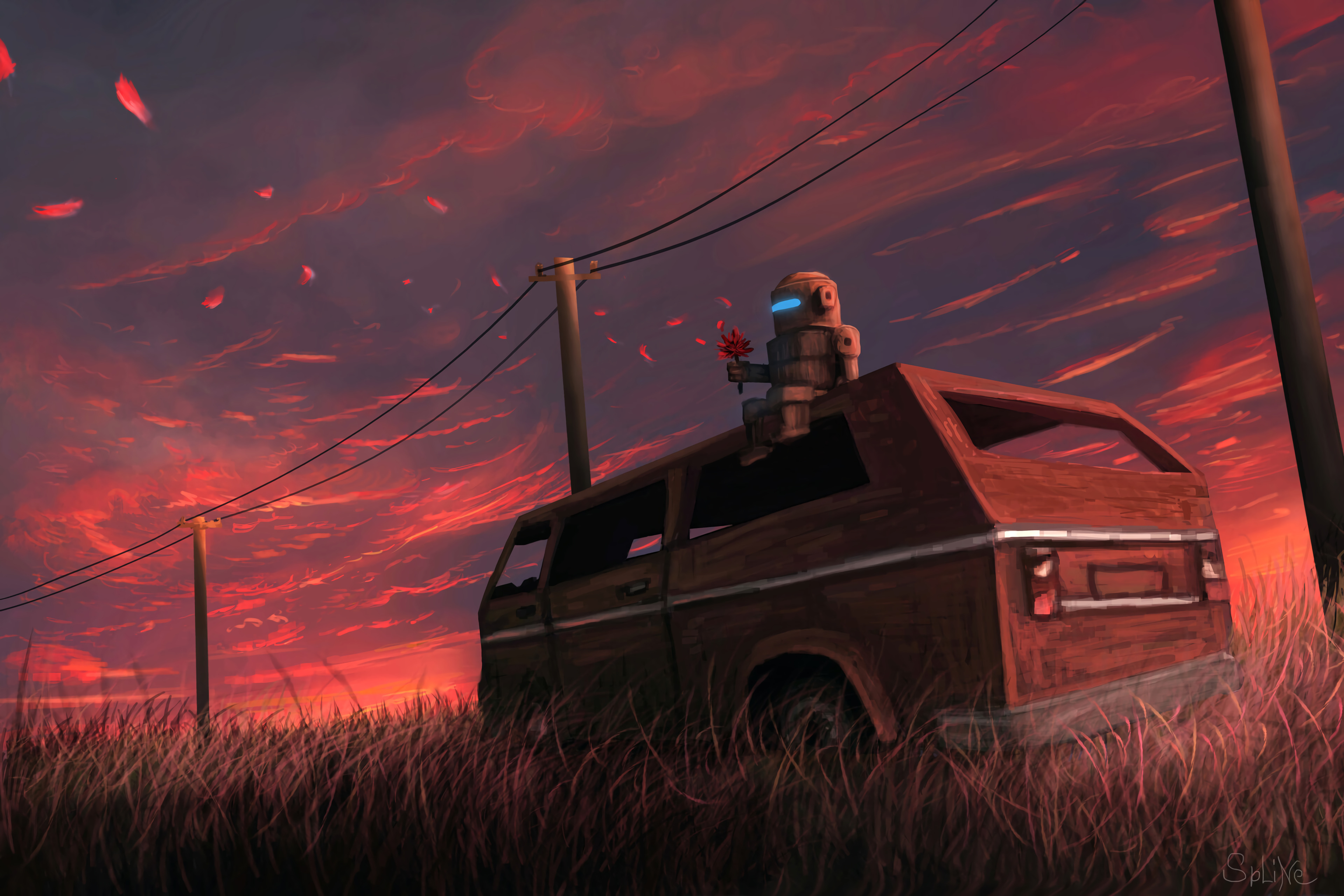 52937 Screensavers and Wallpapers Robot for phone. Download Art, Car, Field, Robot, Van pictures for free